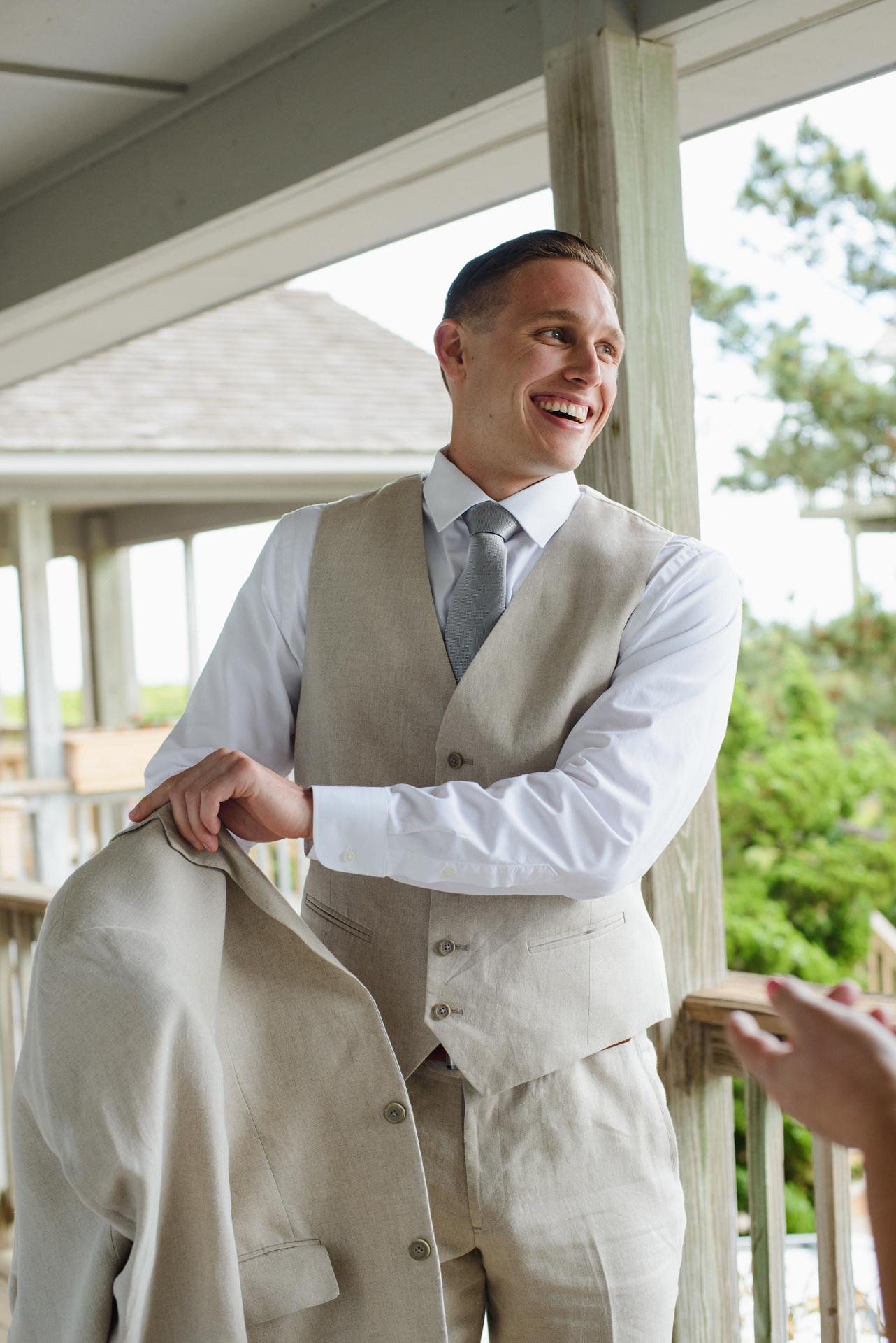 Corolla, North Carolina Elopement Picture | Groom getting ready for his elopement wedding