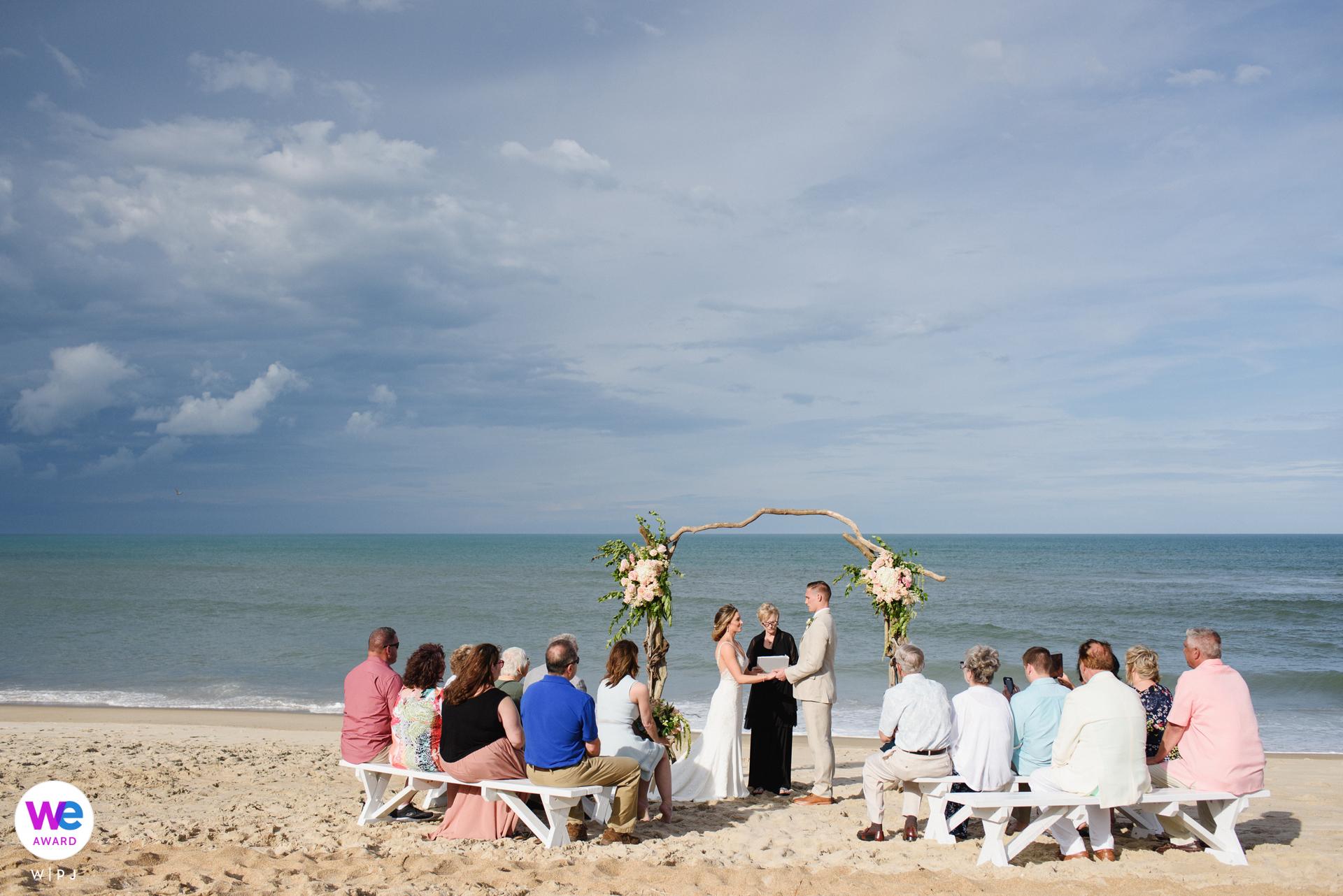 Poseidon Retreat, Corolla, North Carolina Elopement Photo | Small wedding ceremony on the beach
