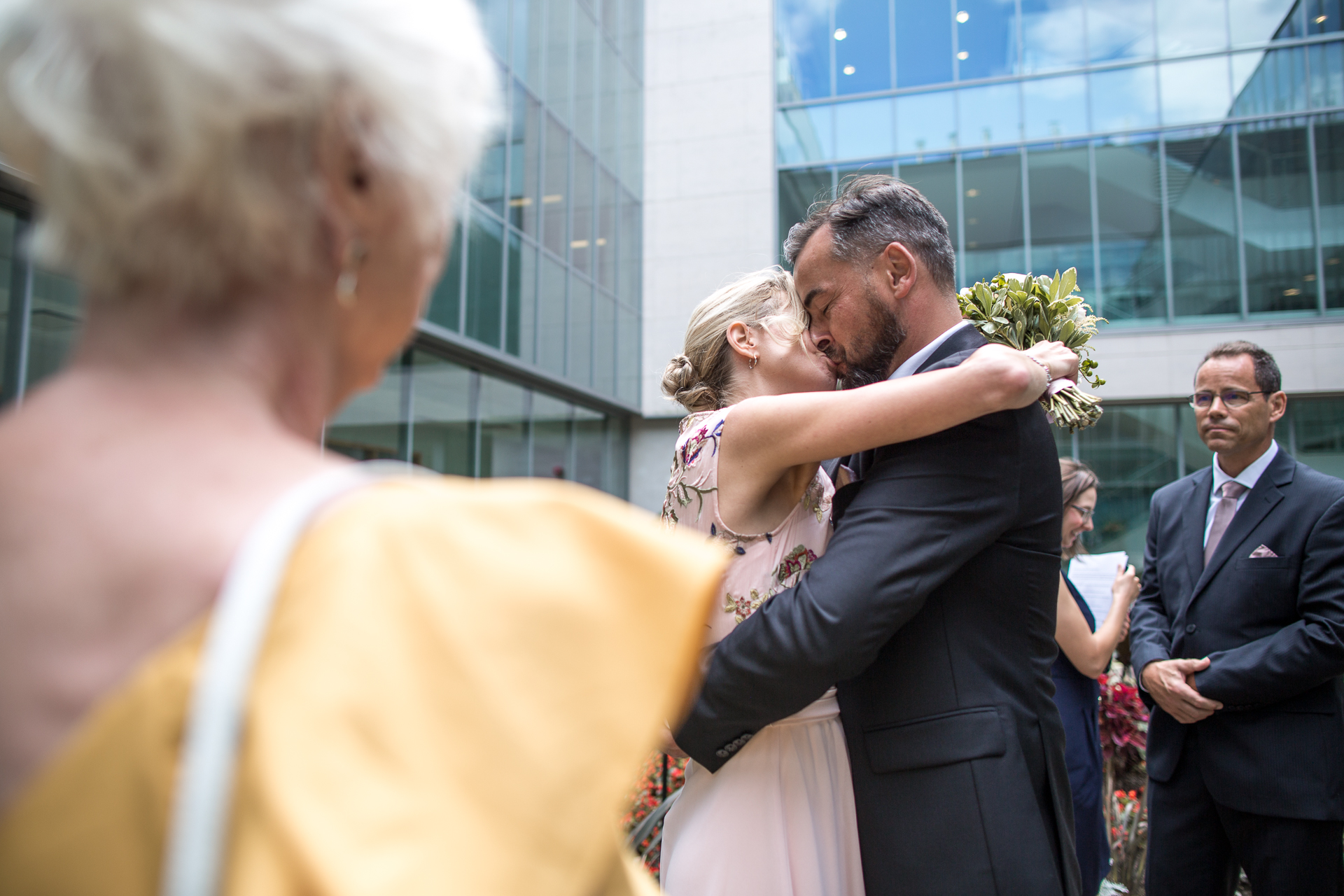Ontario, Canada Elopement Wedding Picture | The newly married couple seal their marriage with a kiss