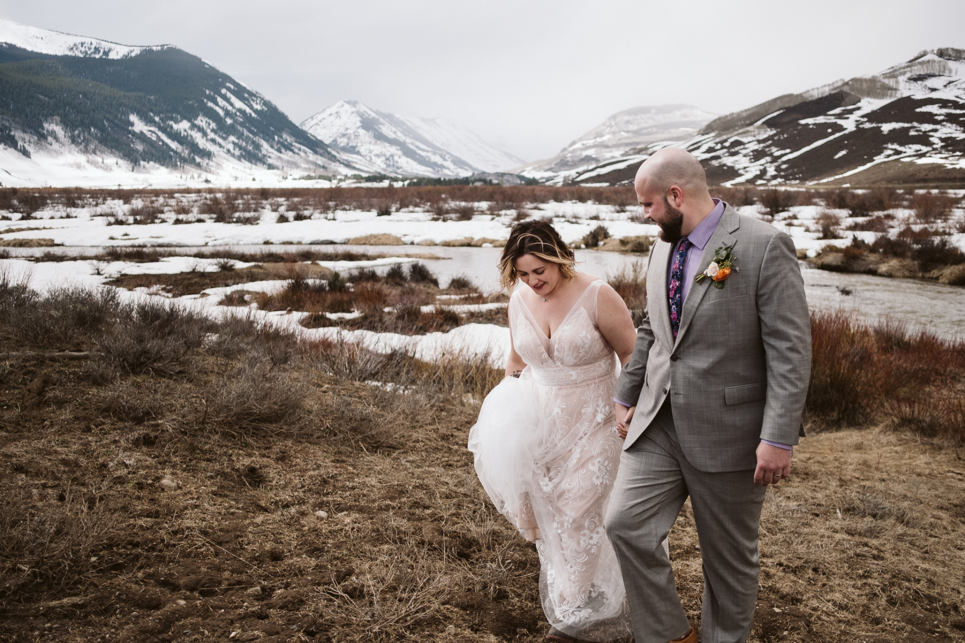 Colorado Adventure Elopement Couple Image | The couple hike around the Crested Butte valley after their elopement ceremony