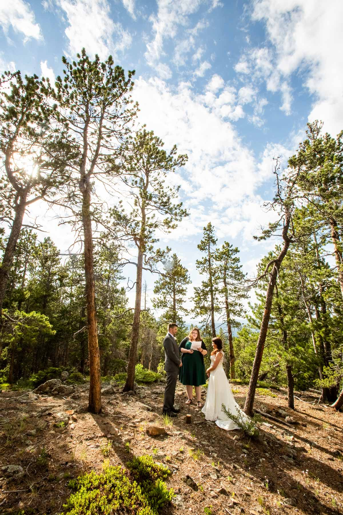 Outdoor Backyard Elopement Ceremony Image   The ceremony took place in a small clearing in the woods behind the couple's house