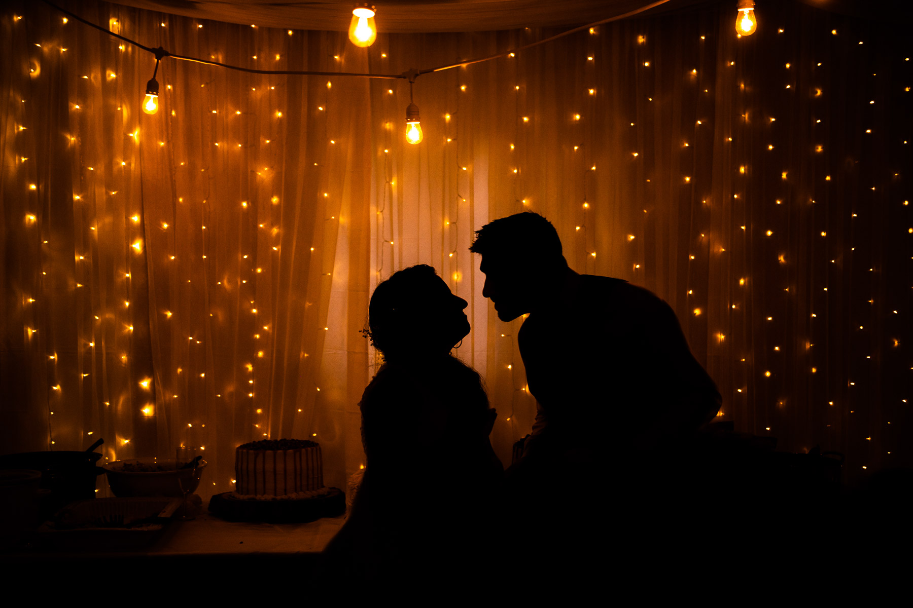 DIY CO Garage Elopement Reception Couple Portrait   The couple cuts the cake surrounded by lights in their DIY reception garage
