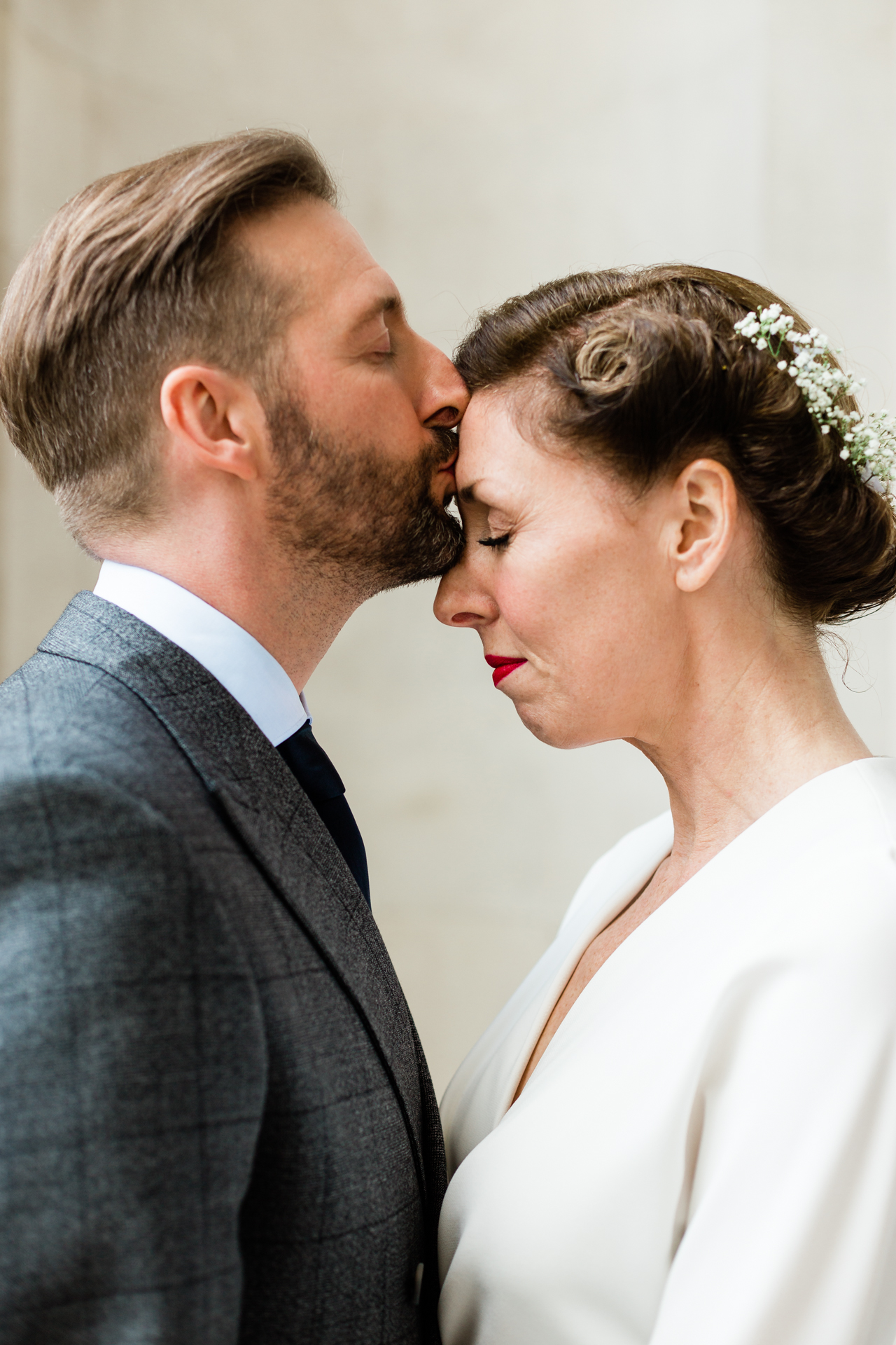 London Wedding Elopement Portrait | An intimate and loving shot for a beautiful couple