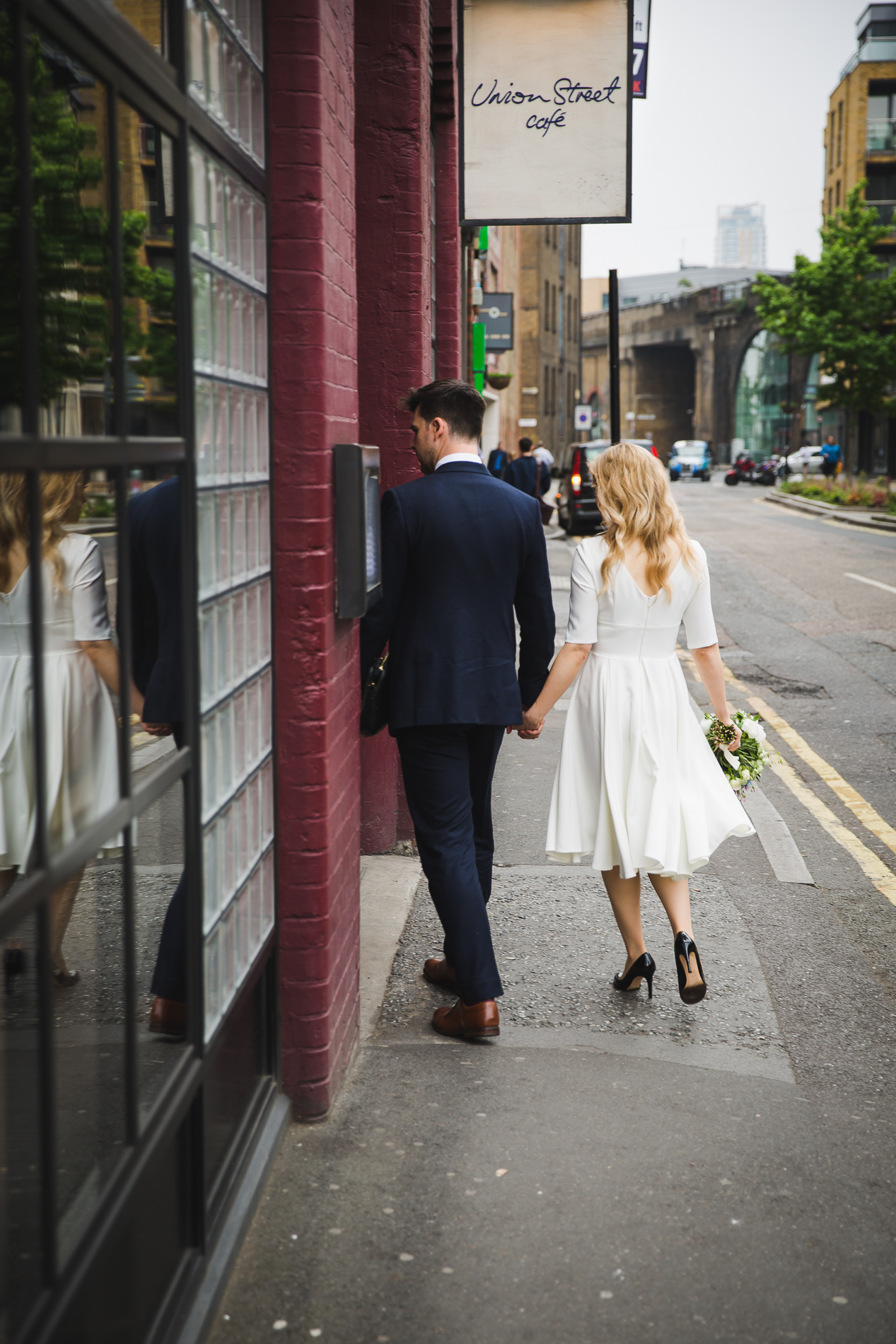 London, UK Elopement Picture | at the Union Street Café following the wedding ceremony for a quick drink