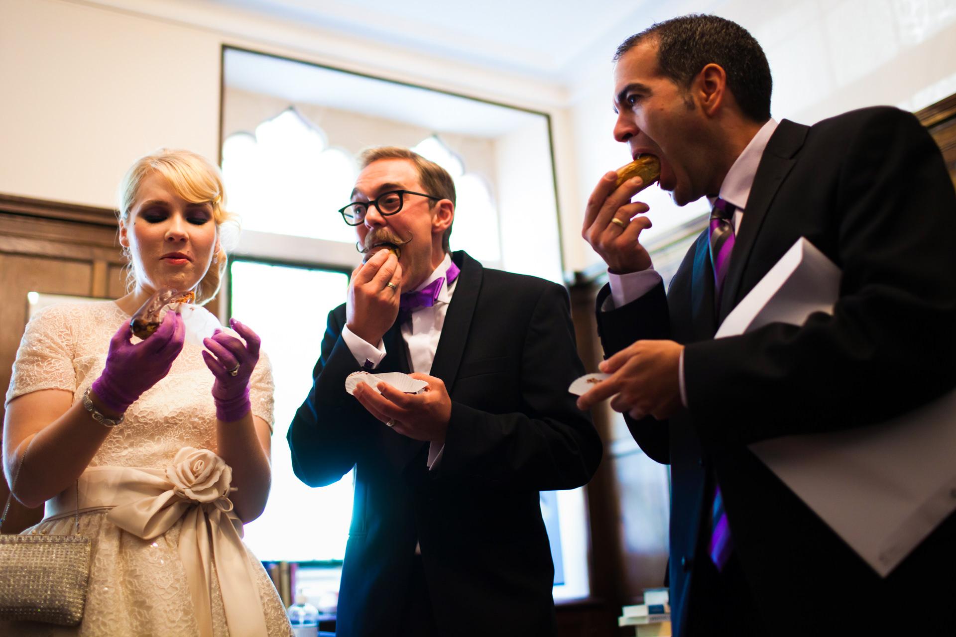 Paris, France Elopement Wedding Photo | Bride, groom, and friend sample the dessert