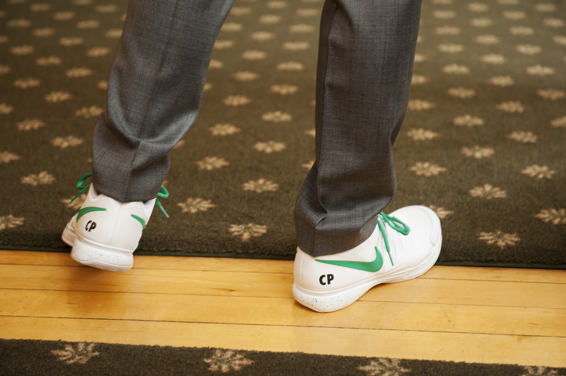 Massachusetts Wedding Detail Picture | The groom's initials mark his custom Nike tennis shoes