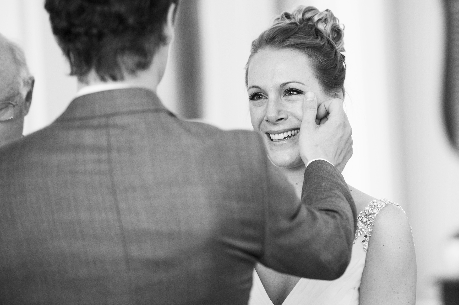 Chestnut Hill, MA Wedding Elopement Ceremony Image | their wedding ceremony begins with a tear wipe