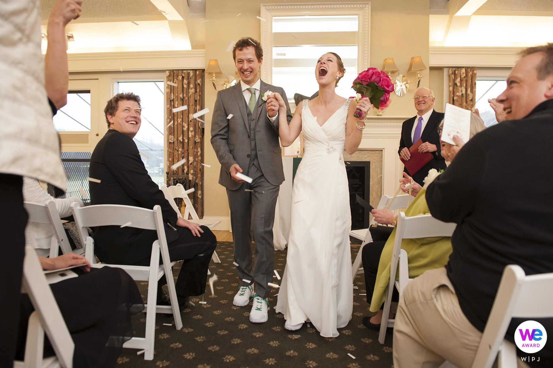 Longwood Cricket Club, Chestnut Hill, Massachusetts Elopement Image Story | The bride and groom celebrated their wedding on a rainy Tuesday afternoon in an intimate ceremony