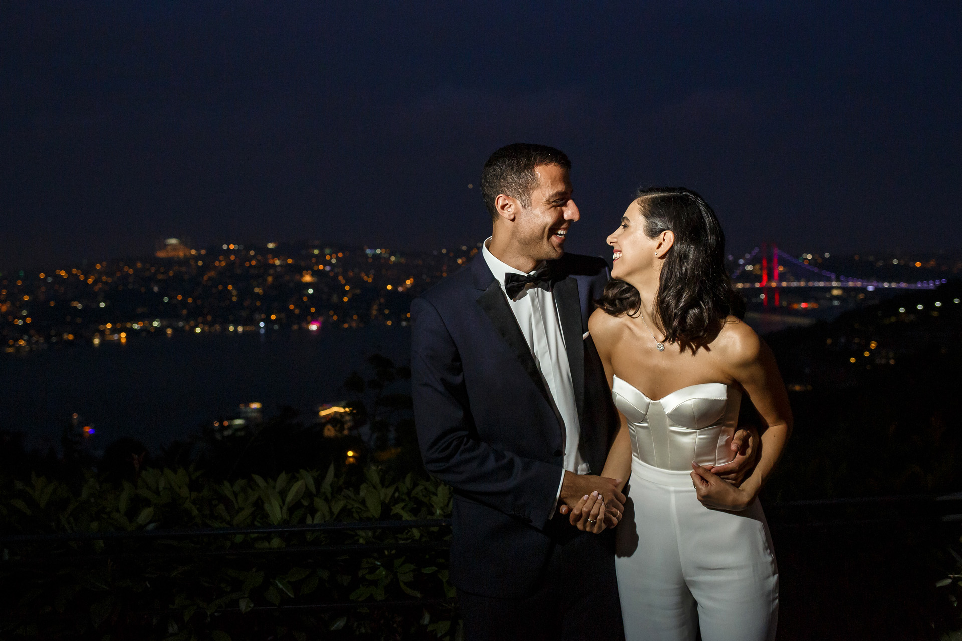 Ulus 29, Ulus, Istanbul, Turkey Wedding Couple Portrait | The couple holding each other during this photoshoot with the city lights