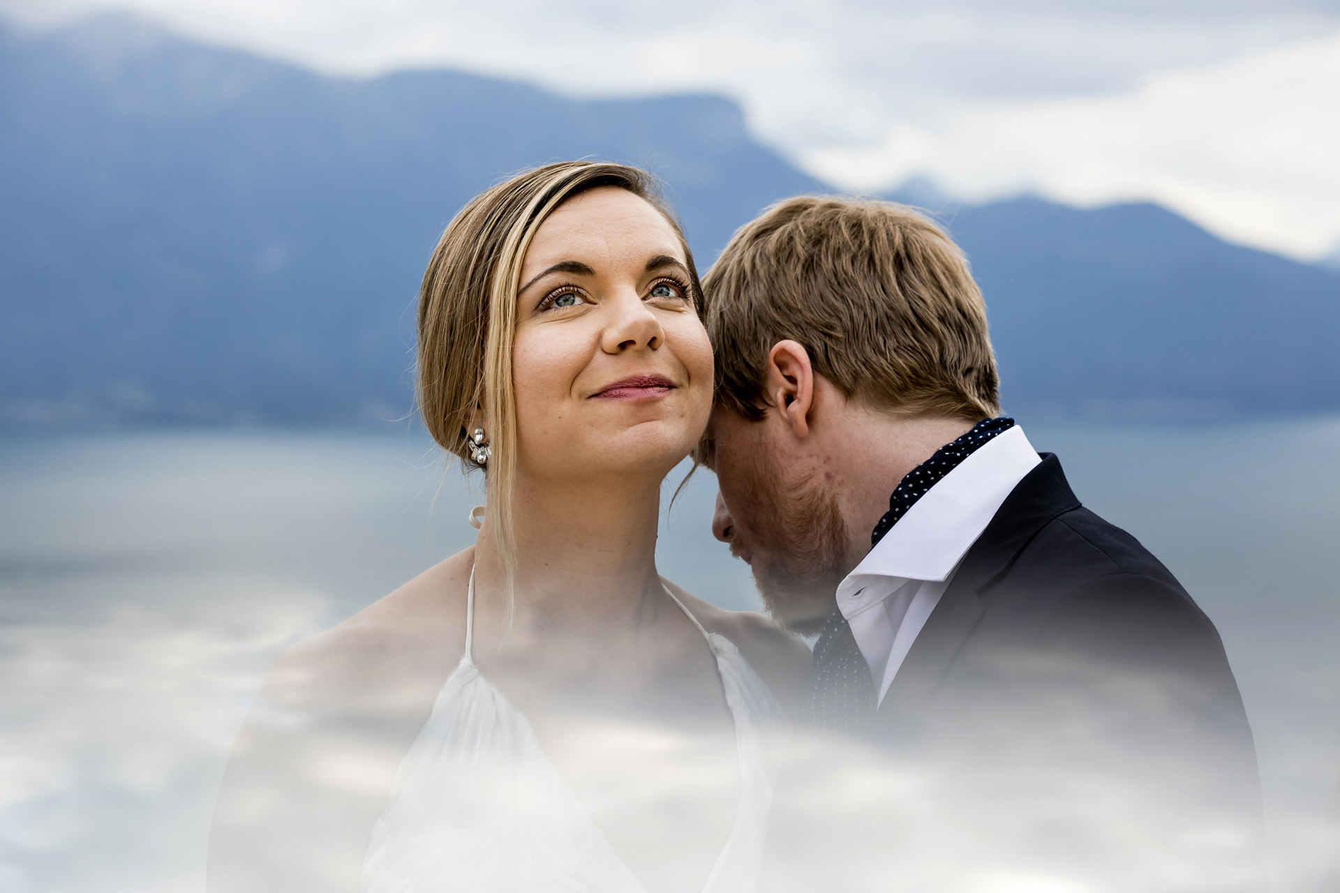 Wedding Elopement Couple Portrait - Switzerland | The afternoon photoshoot started at the terrace of Le Mirador Hotel during cocktails