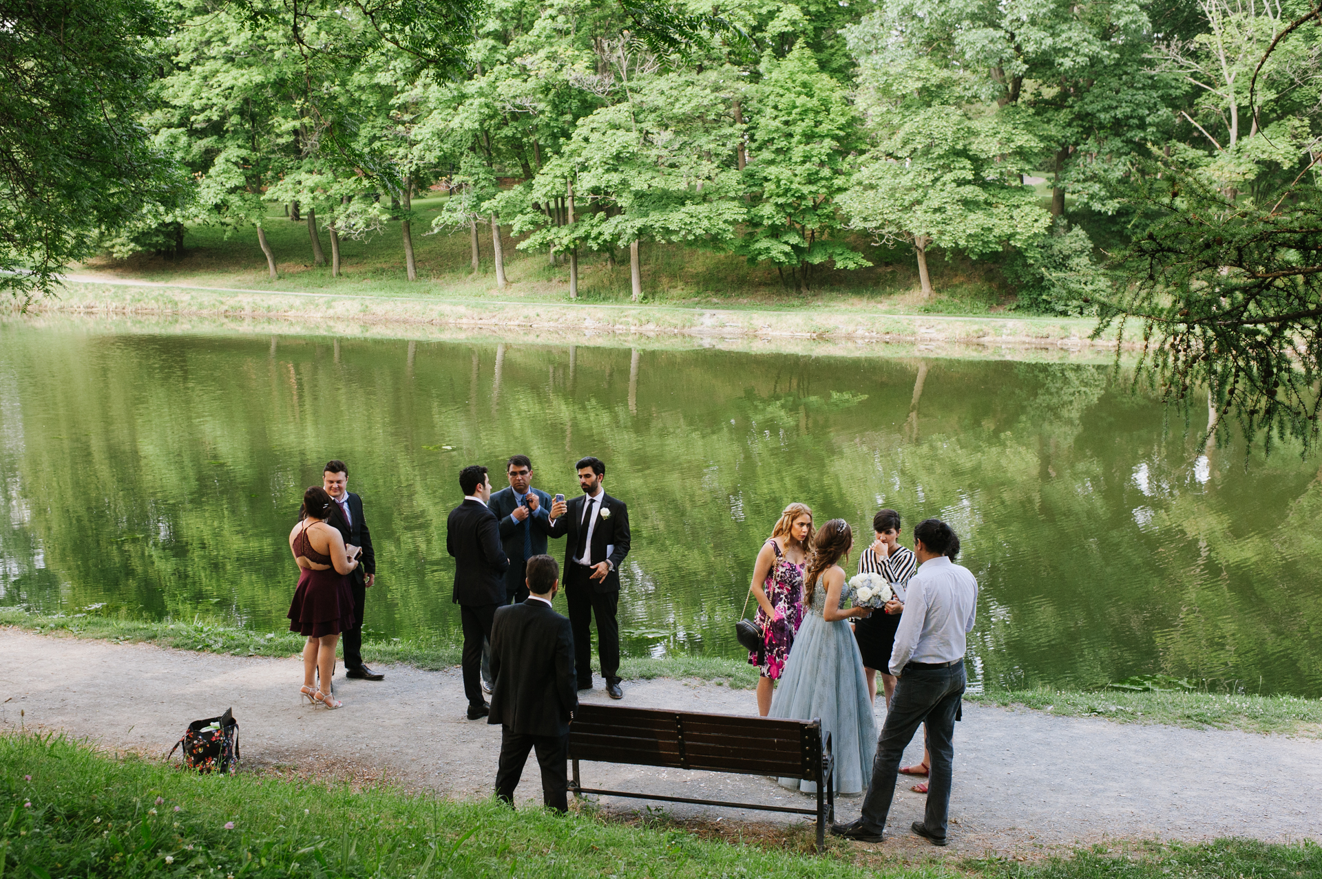 Washington Park, Albany, New York Wedding Elopement Image | The bride and groom visit with friends