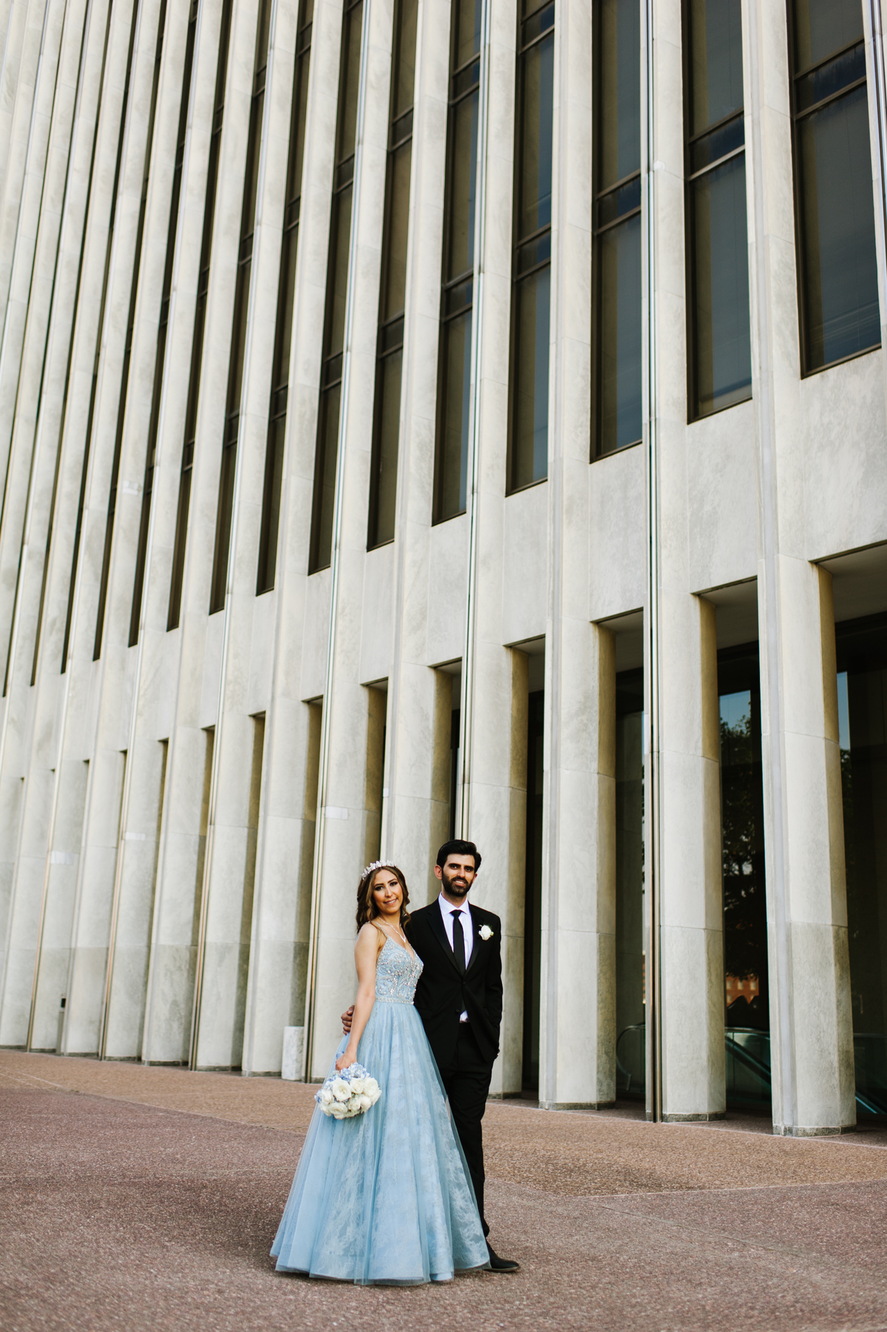 Empire State Plaza, Albany Wedding Elopement Portrait | The bride and groom pose for a portrait