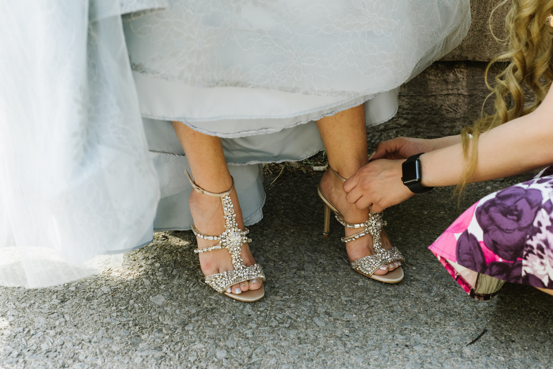 Albany, New York, USA Elopement Wedding Photo Detail | The bride's very elaborate shoes made of gems