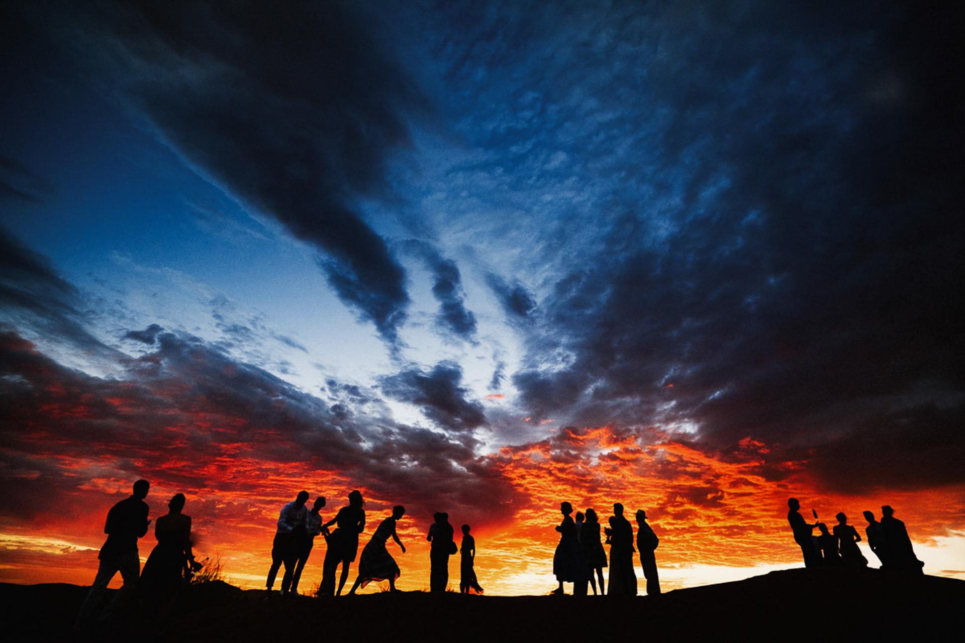 Namib Desert Elopement Reception Image | The guests enjoying drinks