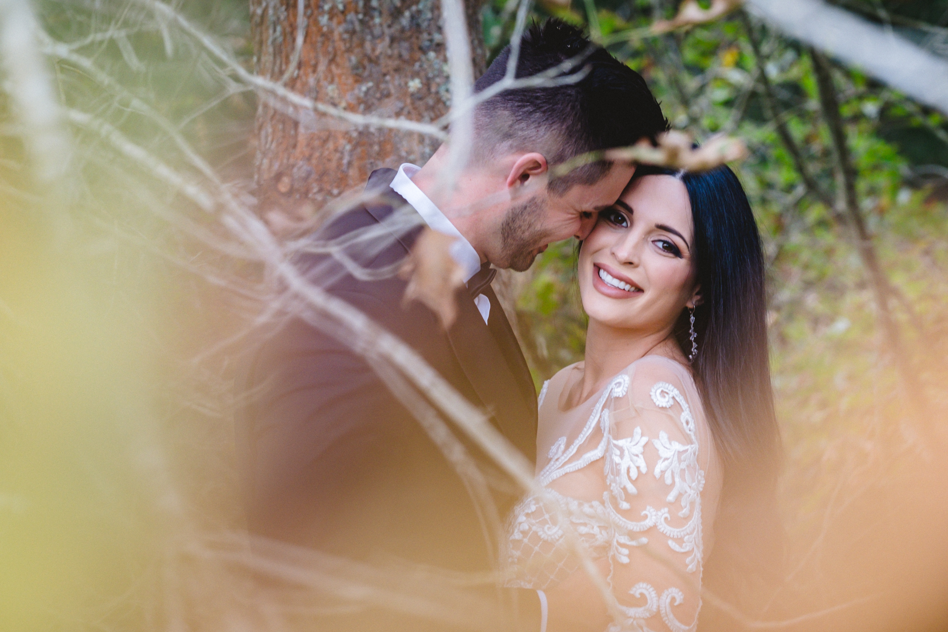 Elopement Couple Portraits in South Africa | colored leaves to create atmosphere