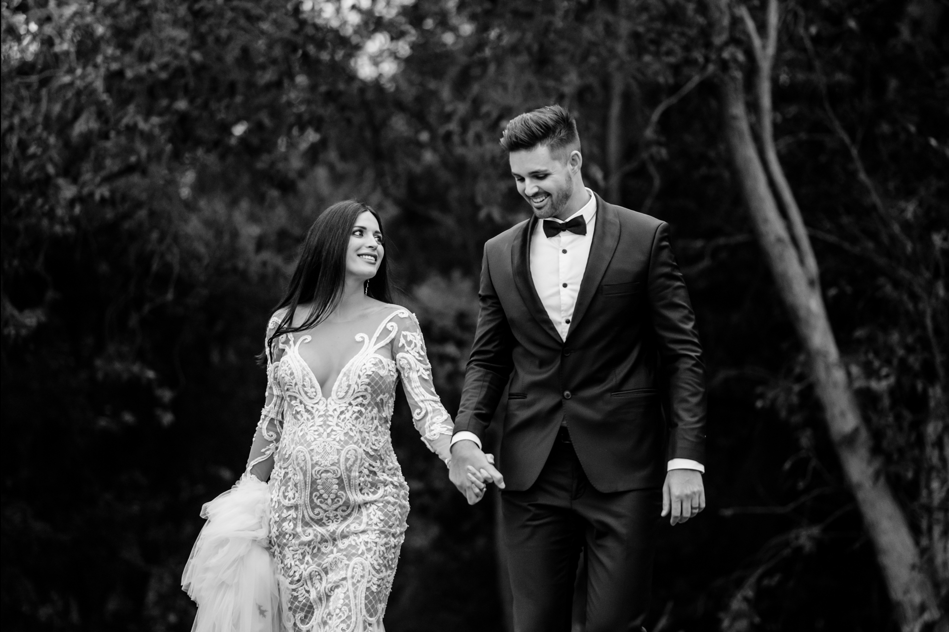 Black and White Elopement Portraits - South Africa | The couple was walking towards their wedding reception