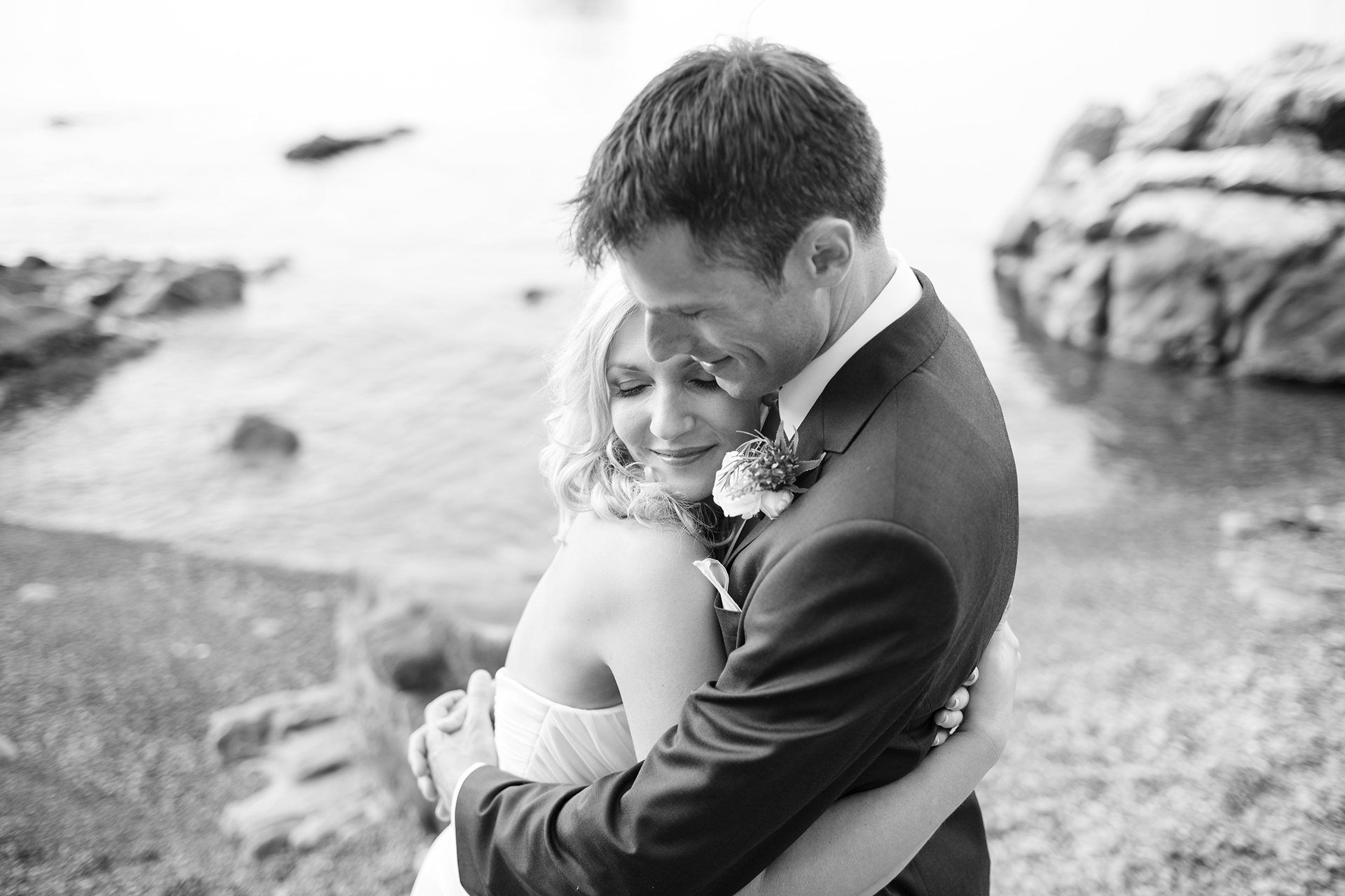 Sicily Beach Elopement Couple Portrait | Loving embrace of the newlyweds in Cefalù