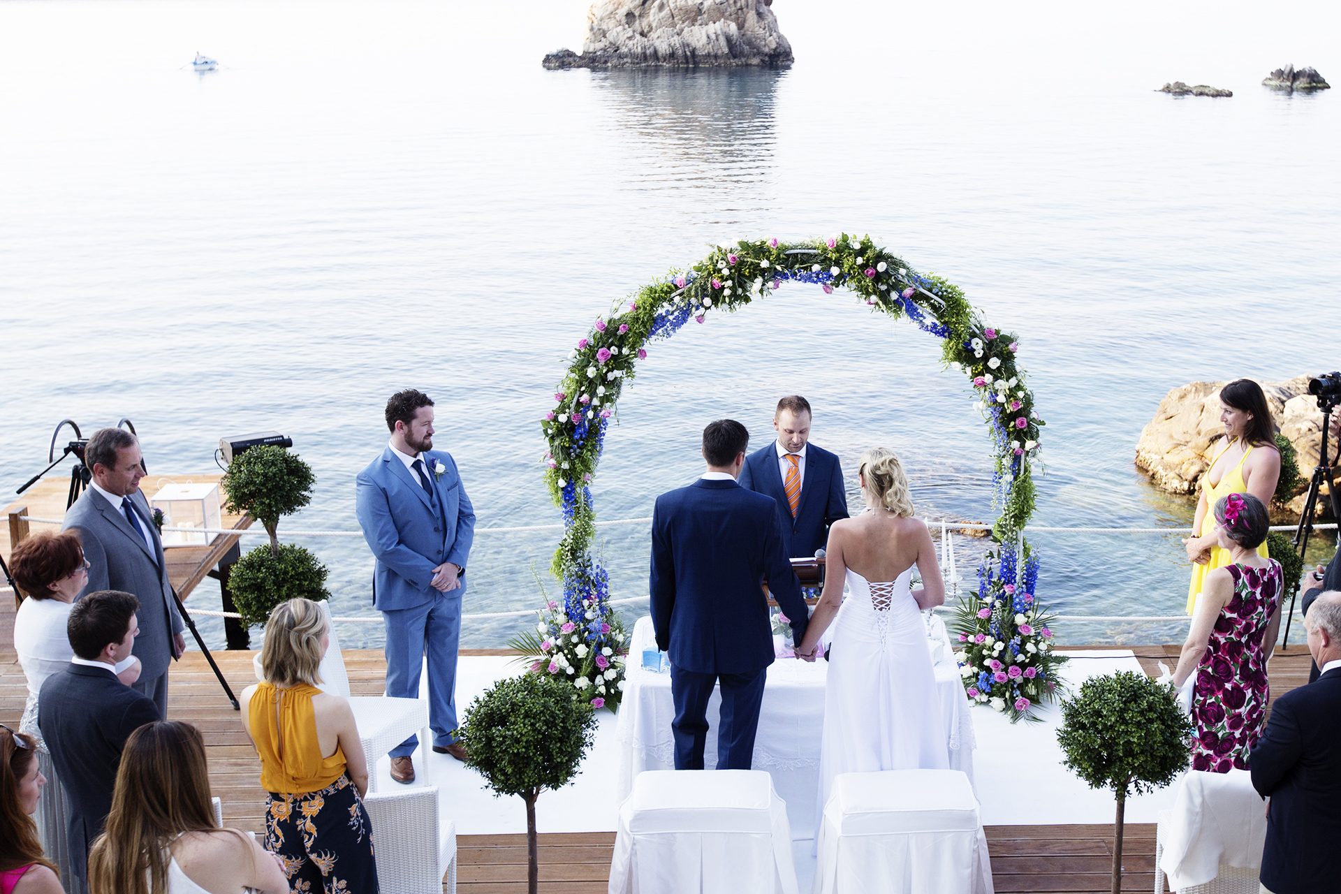 Cefalù, Palermo, Sicily, Italy Beach Wedding Ceremony Image | The ceremony at Le Calette was photographed from many angles