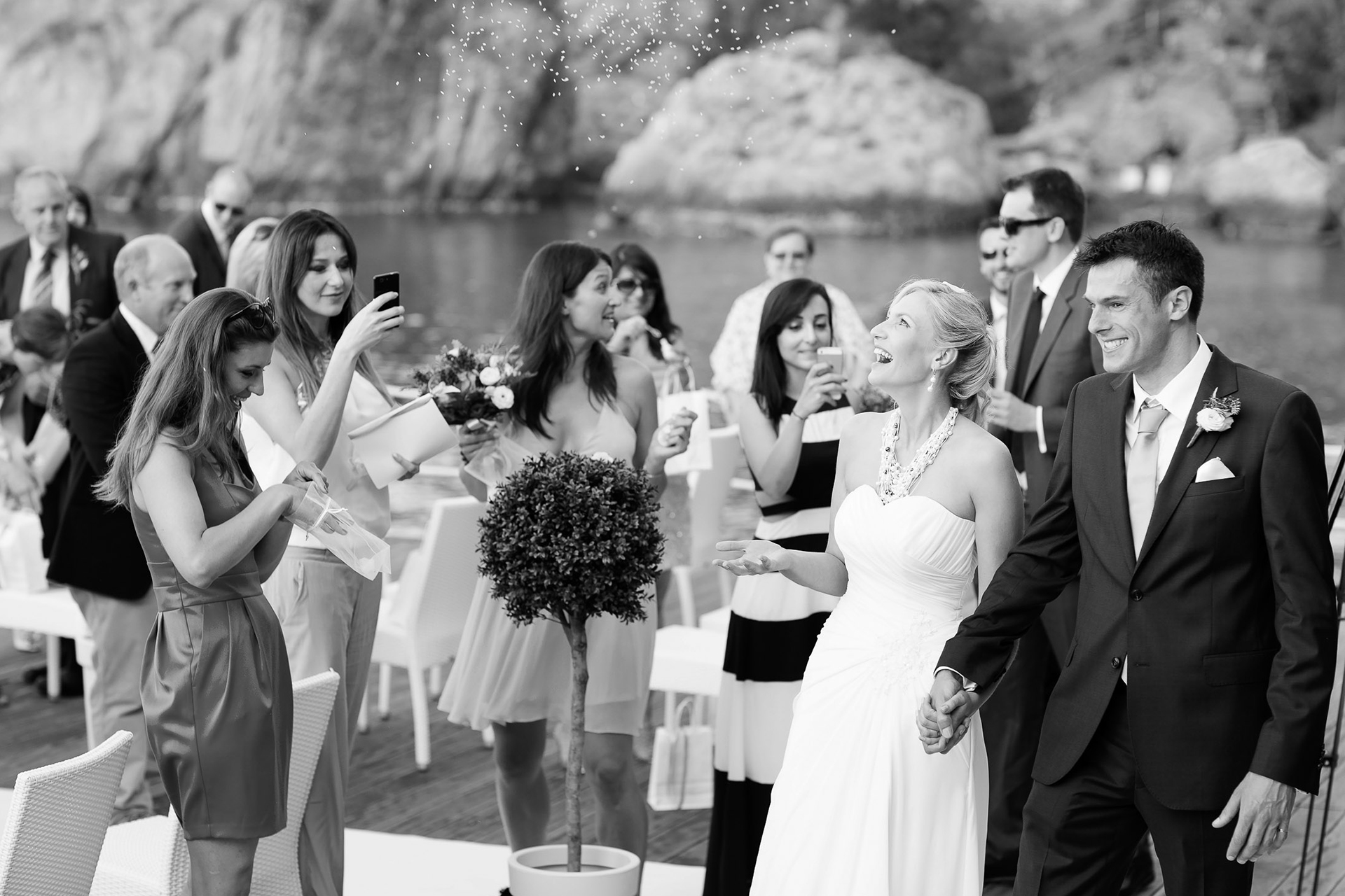 Sicily, Italy Beach Wedding Pictures | A joyful moment of the spouses with their friends