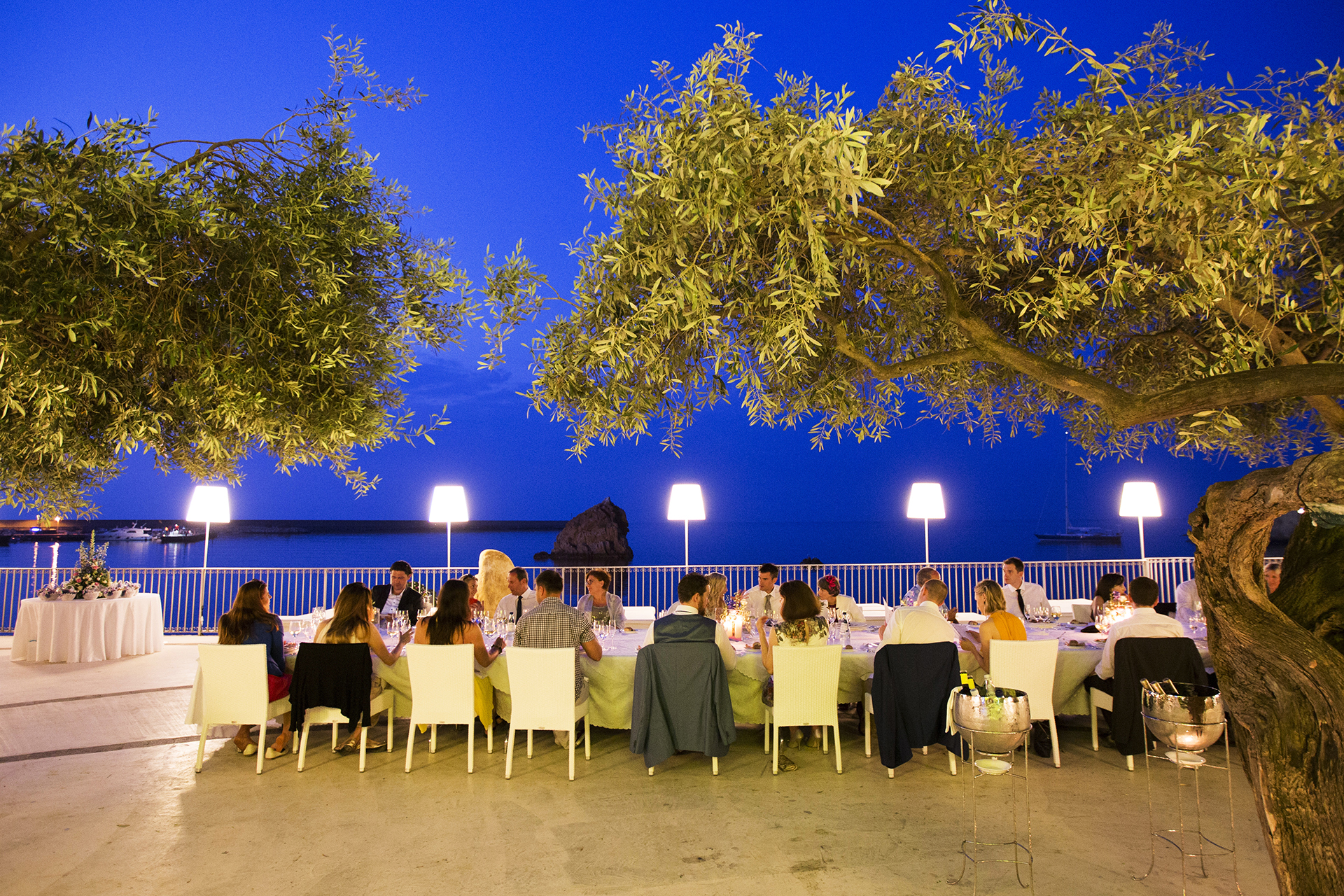 Sicily, IT Wedding Reception Photography | dinner with a view of the sea on the Gulf of Cefalù