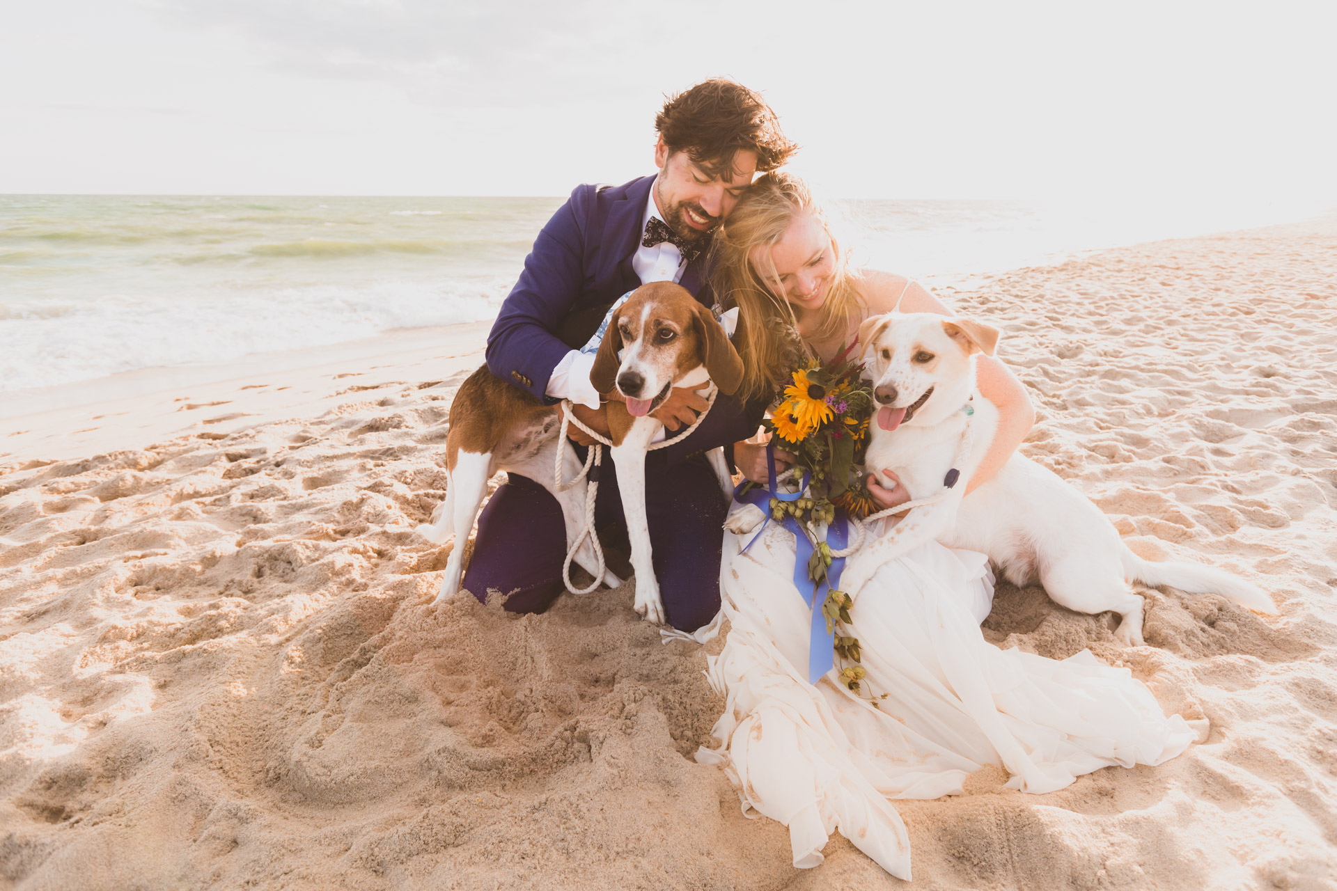 MA Beach Wedding Couple Portrait with Dogs | like most days, the dogs added so much joy and happiness to the evening