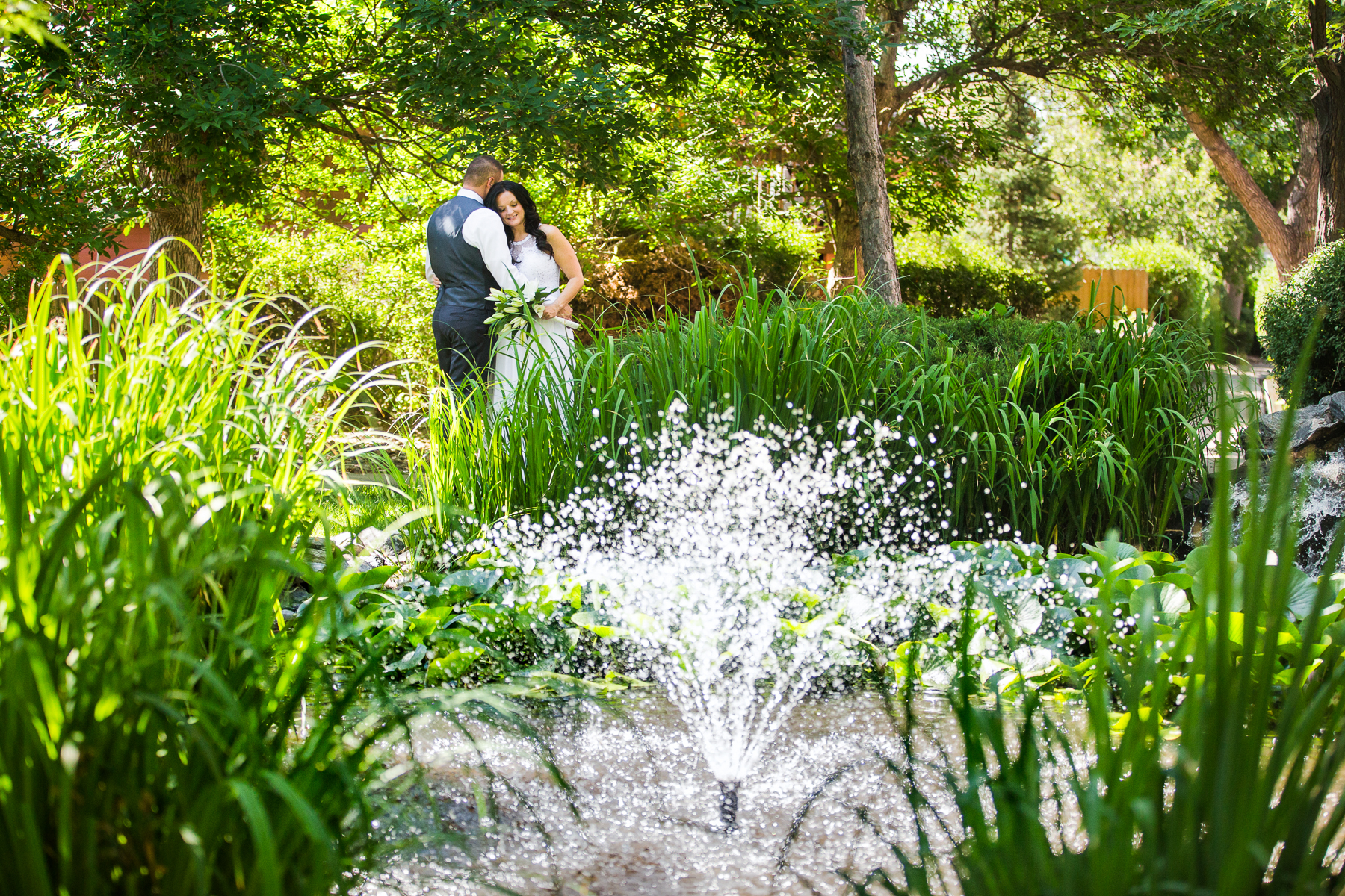 CO Backyard Wedding Ceremony Portrait - Elopement | taking a short stroll to a garden in their neighborhood where they had taken many walks as a couple before getting married