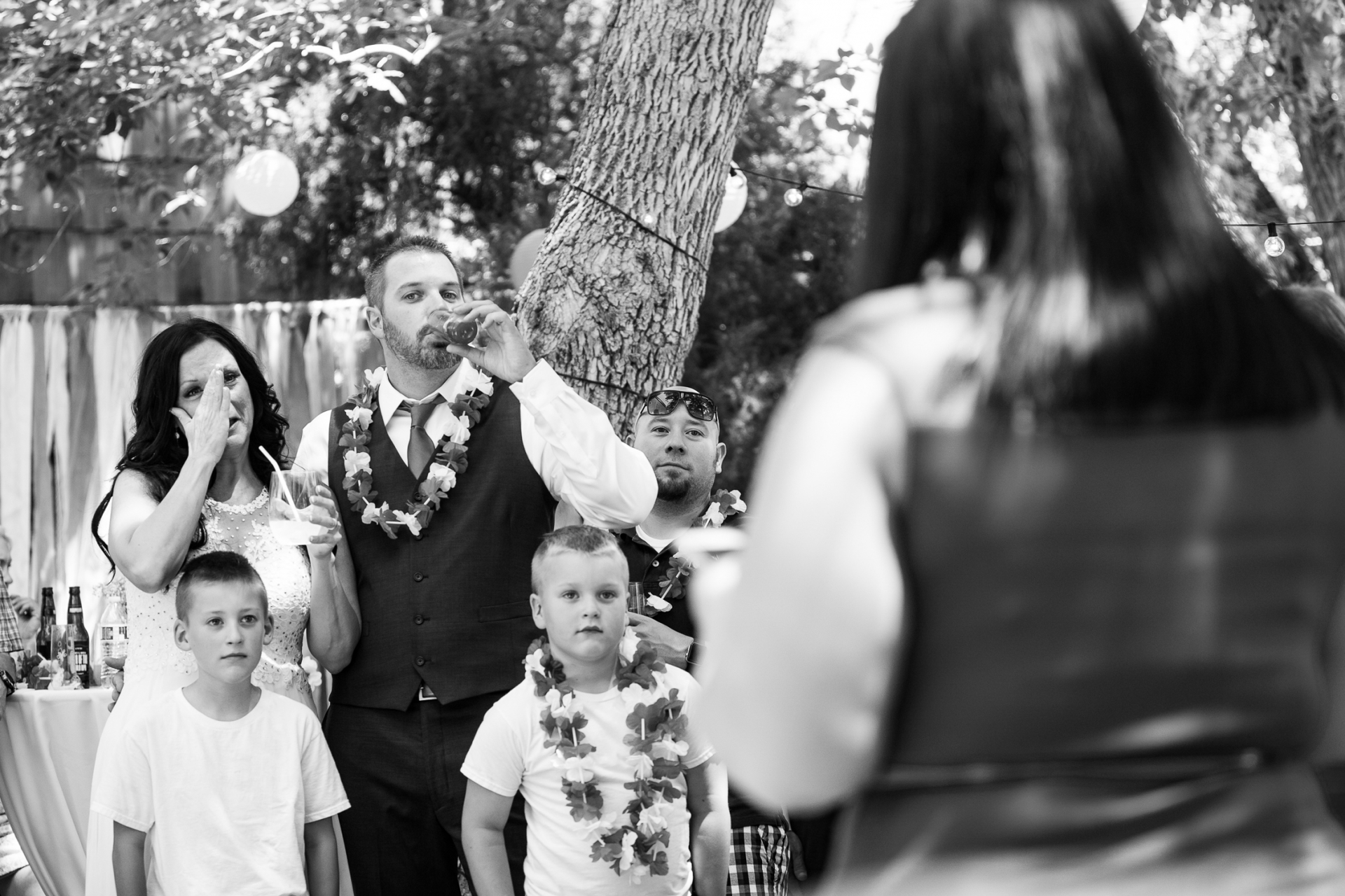 Backyard Elopement Image | sweet toasts together after the ceremony
