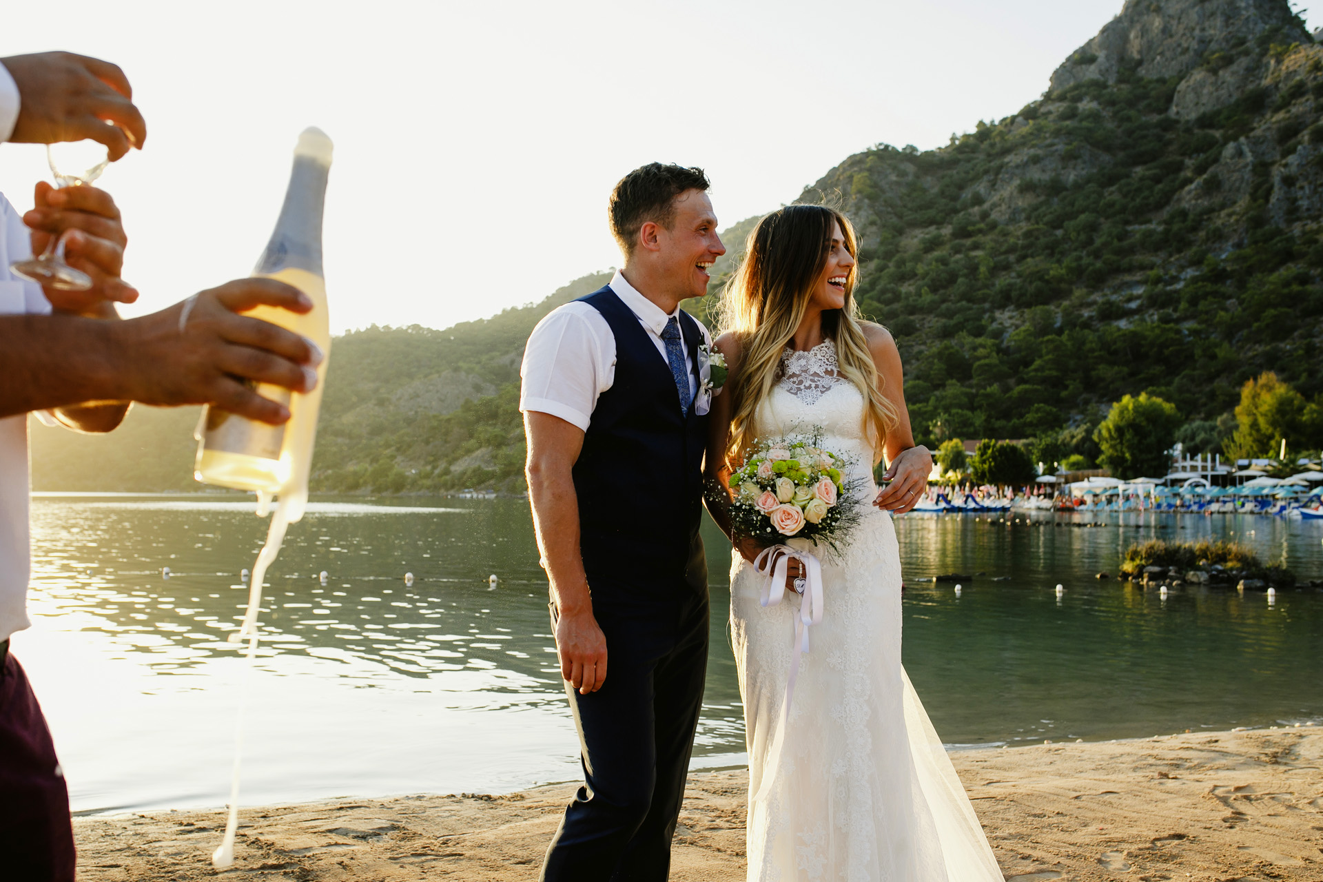 Turkey Sea Horse Beach Club Elopement Ceremony Picture | The guests preferred to spend some more time on the beach