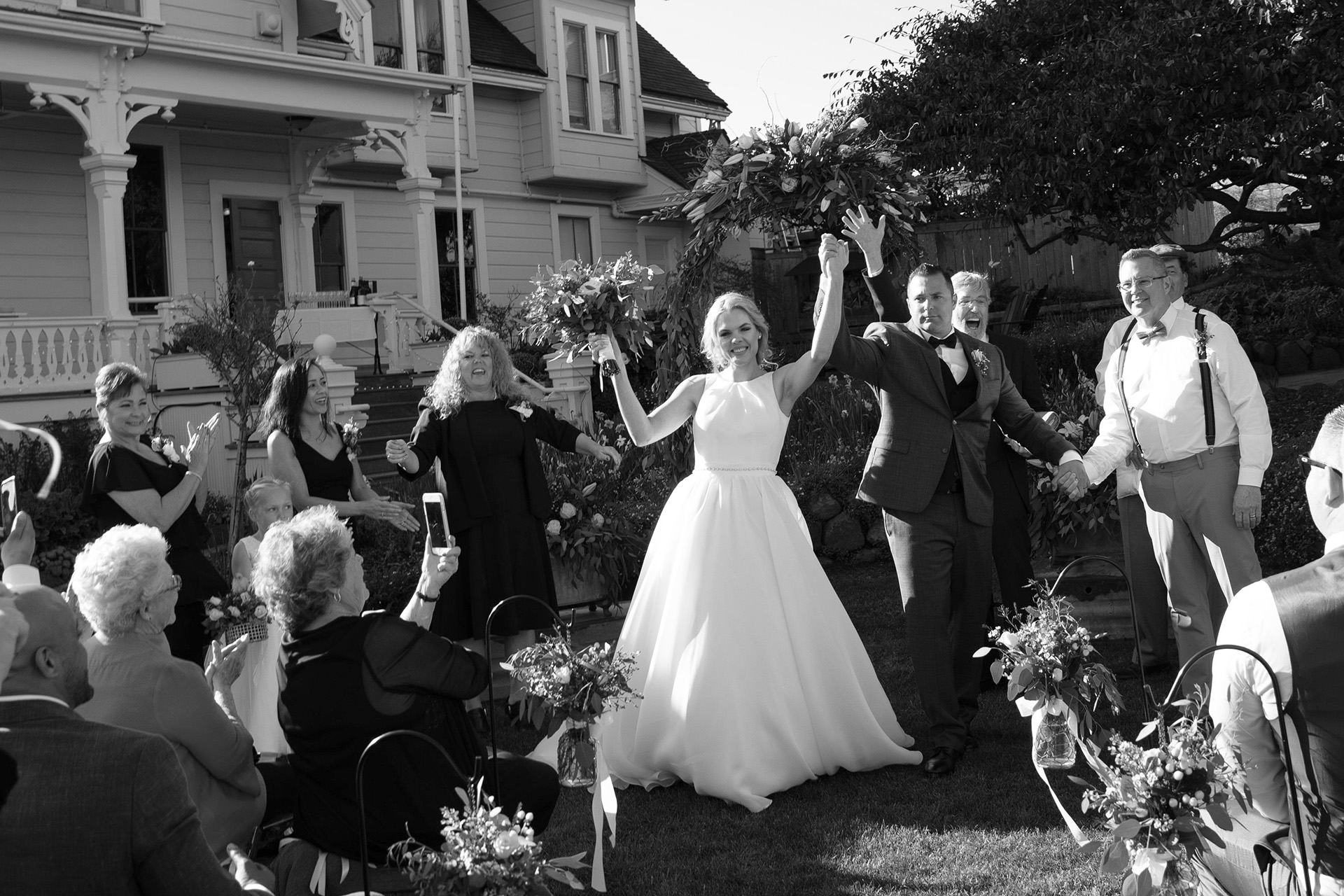 Outdoor Ceremony Elopement Photography - California Weddings | The moment of celebration after the bride and groom are announced