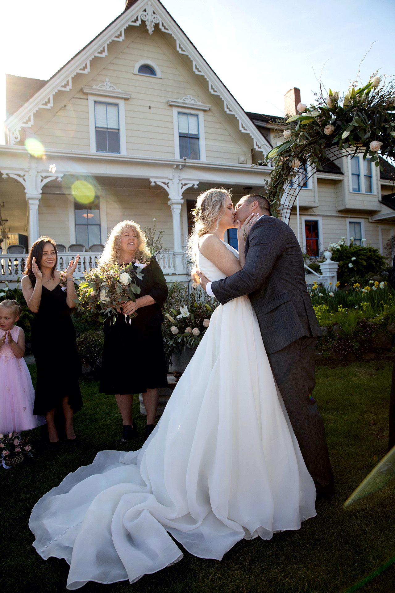 California Outdoor Ceremony Elopement Kiss Picture | first kiss as a married couple