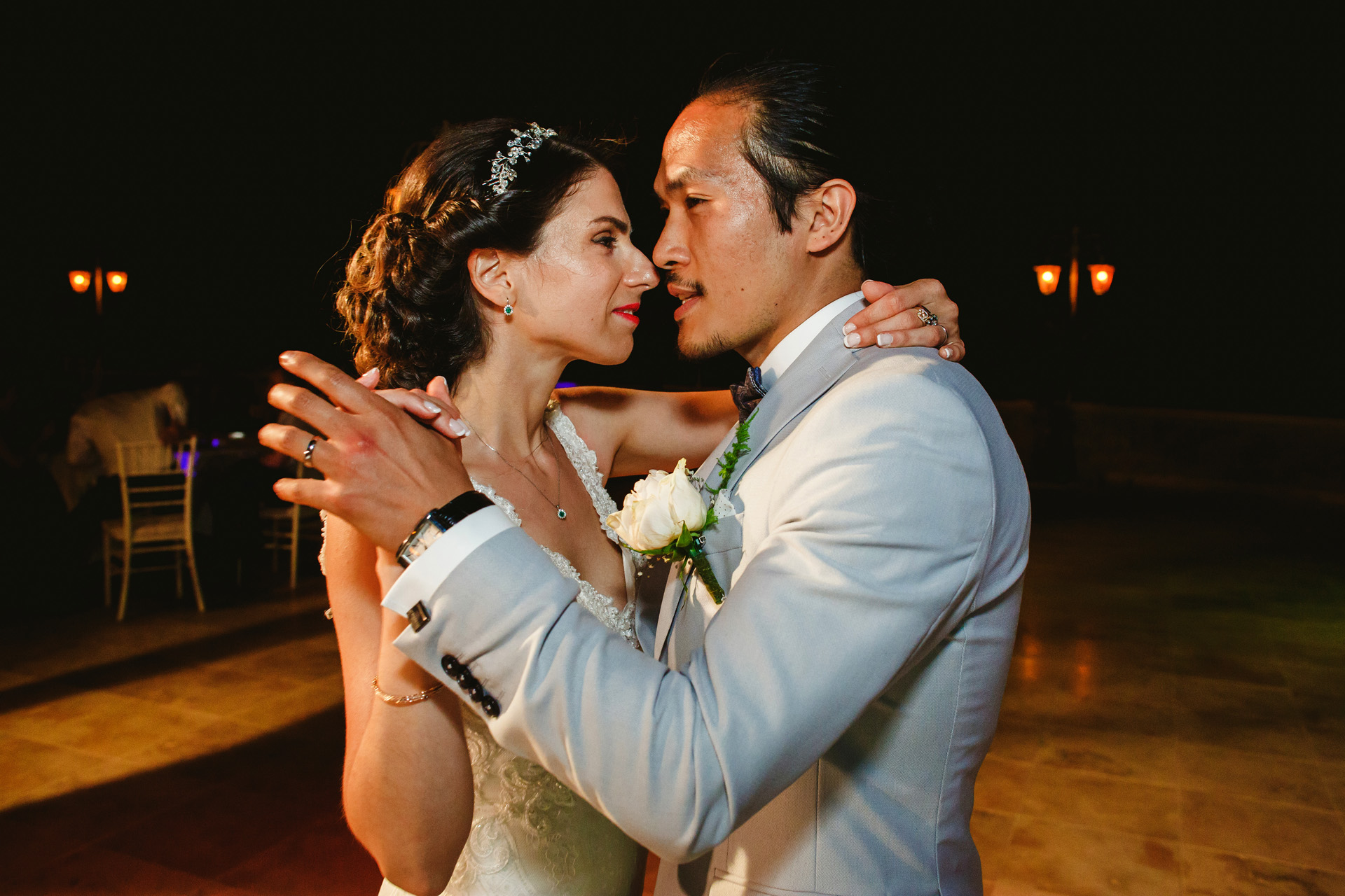Cyprus Elopement First Dance Reception Picture | bride and groom dancing at their reception party