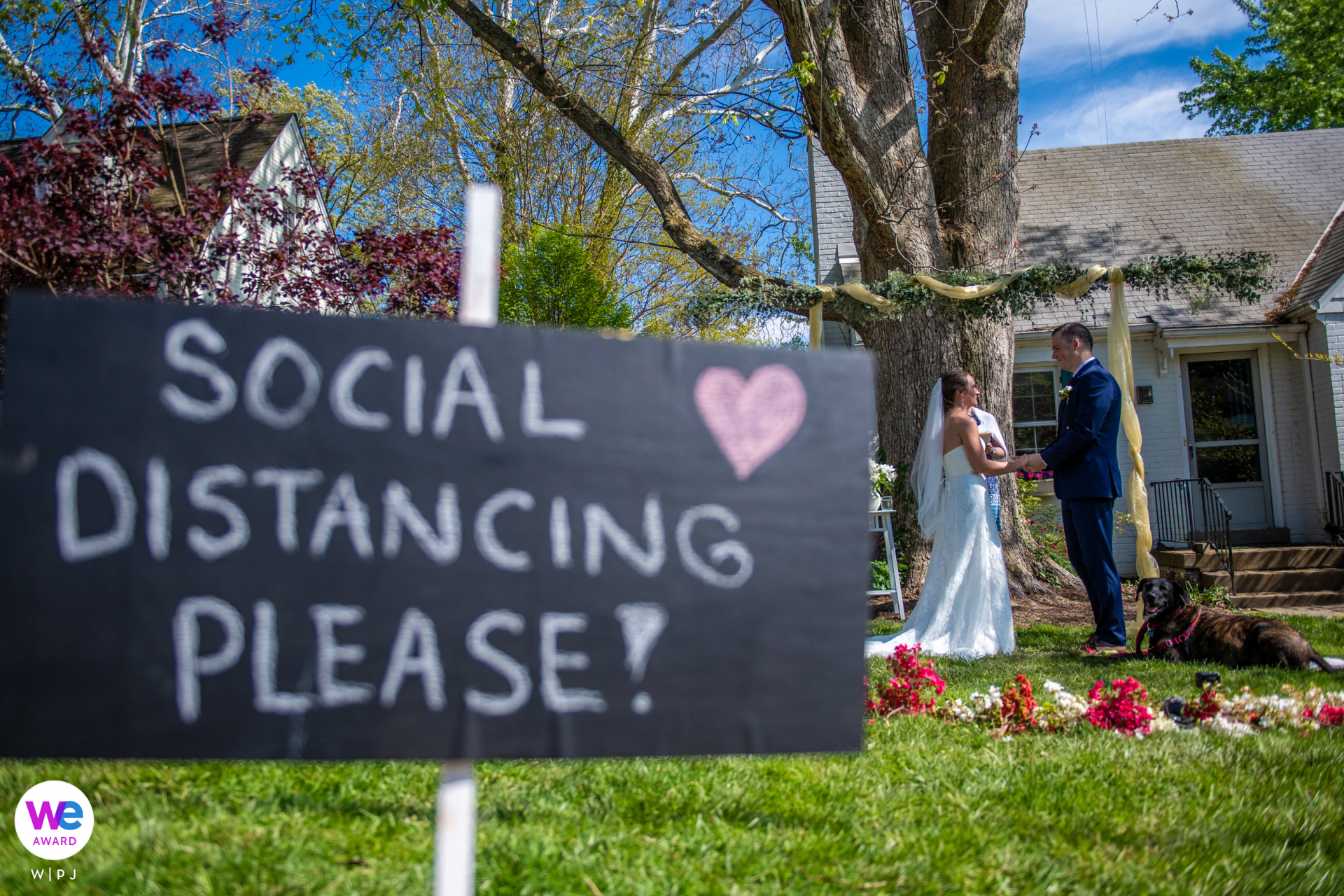 Rockville, Maryland Elopement Photographer | Quarantine - Social Distance Front Yard Wedding Sign - on a warm Saturday at the beginning of May the bride and groom had the most beautiful wedding in the front of their home