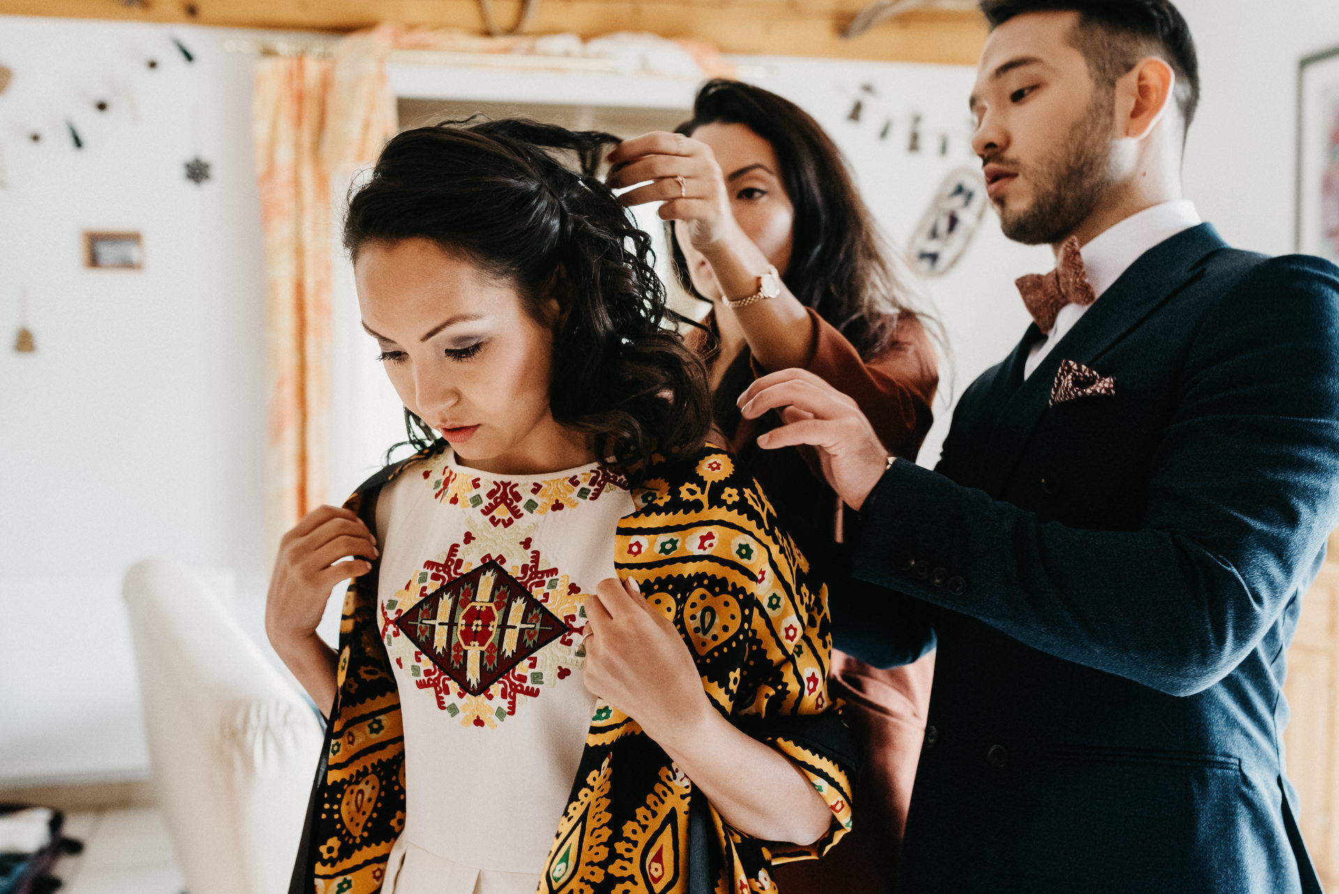 Catalonia Wedding Elopement Getting Ready Photo | the grandmother's treasured family bridal shawl upon the bride's shoulders