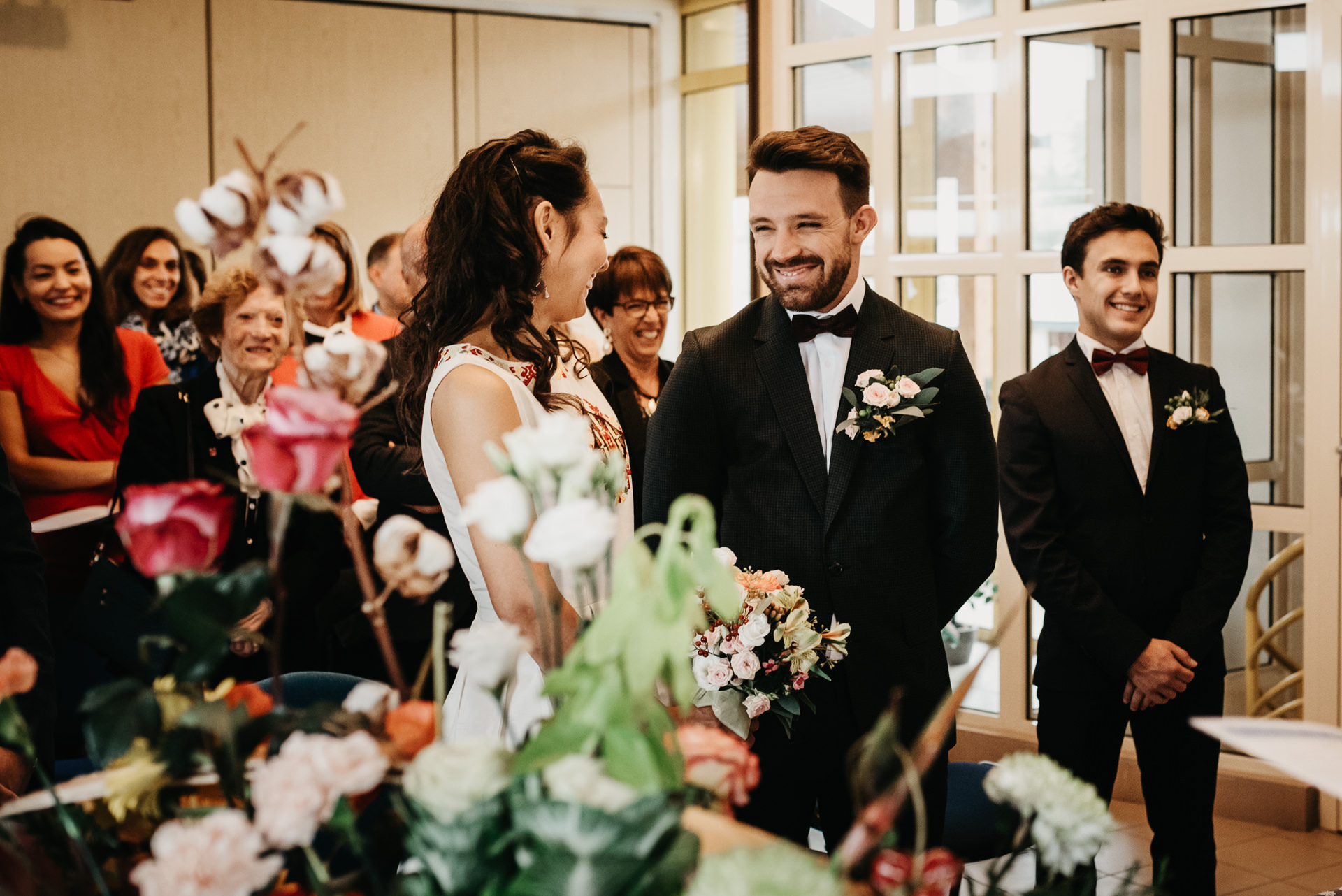 French Wedding Elopement Ceremony Image | the bride does not speak French, the groom attempts to translate