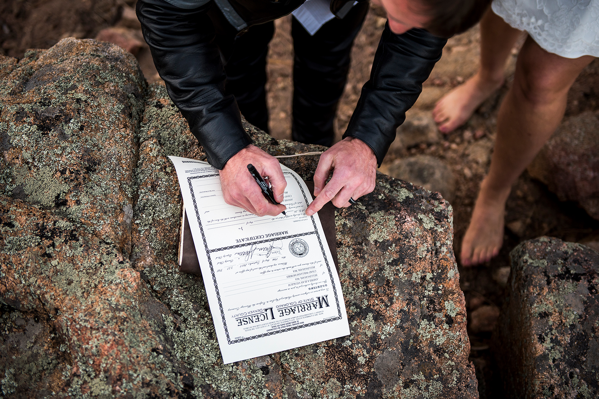 CO Wedding Elopement Detail Image | making the most of his Estes Park natural surroundings