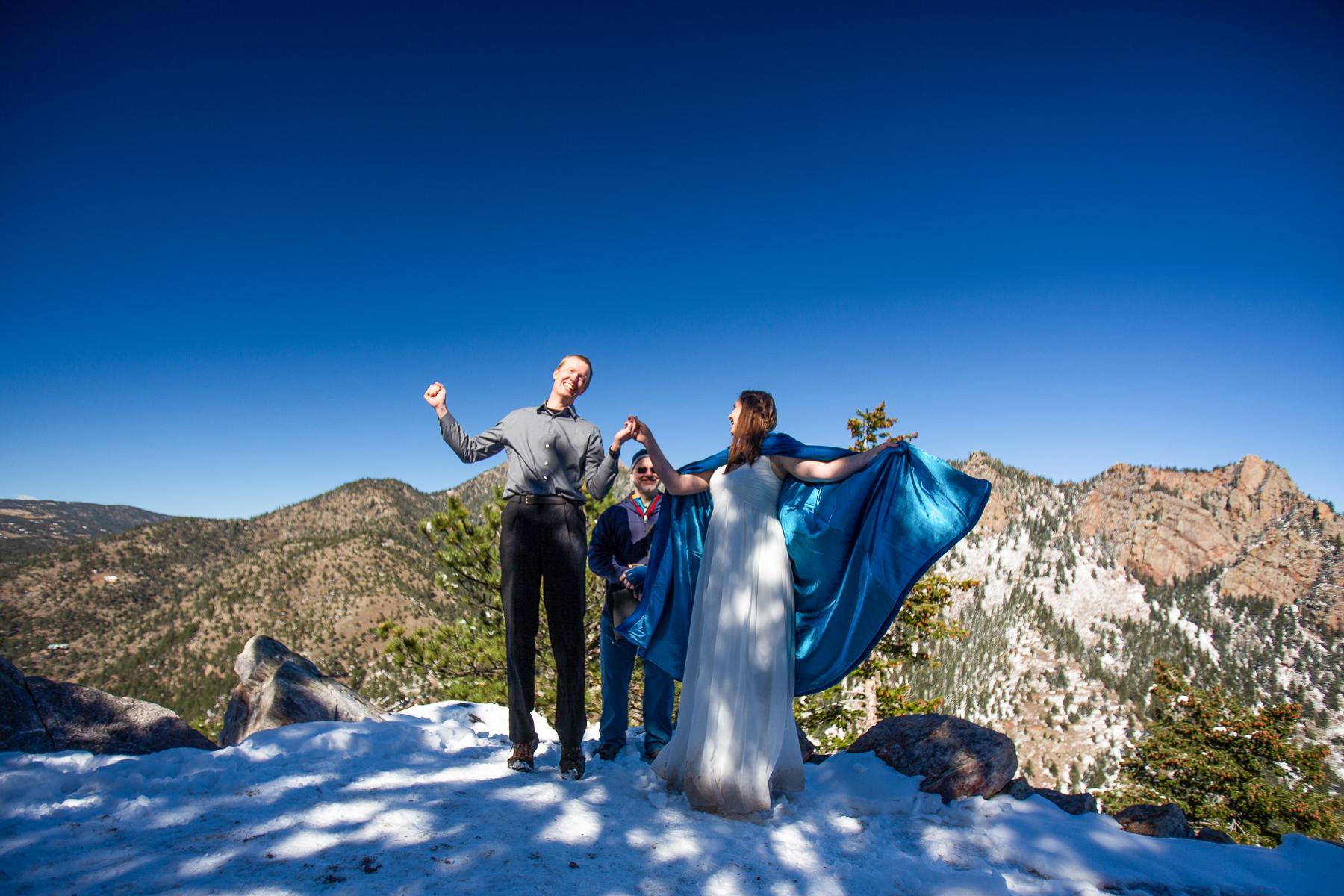 Boulder, CO Outdoor Elopement Wedding Photographer | the newlyweds announced to their watching friends and family