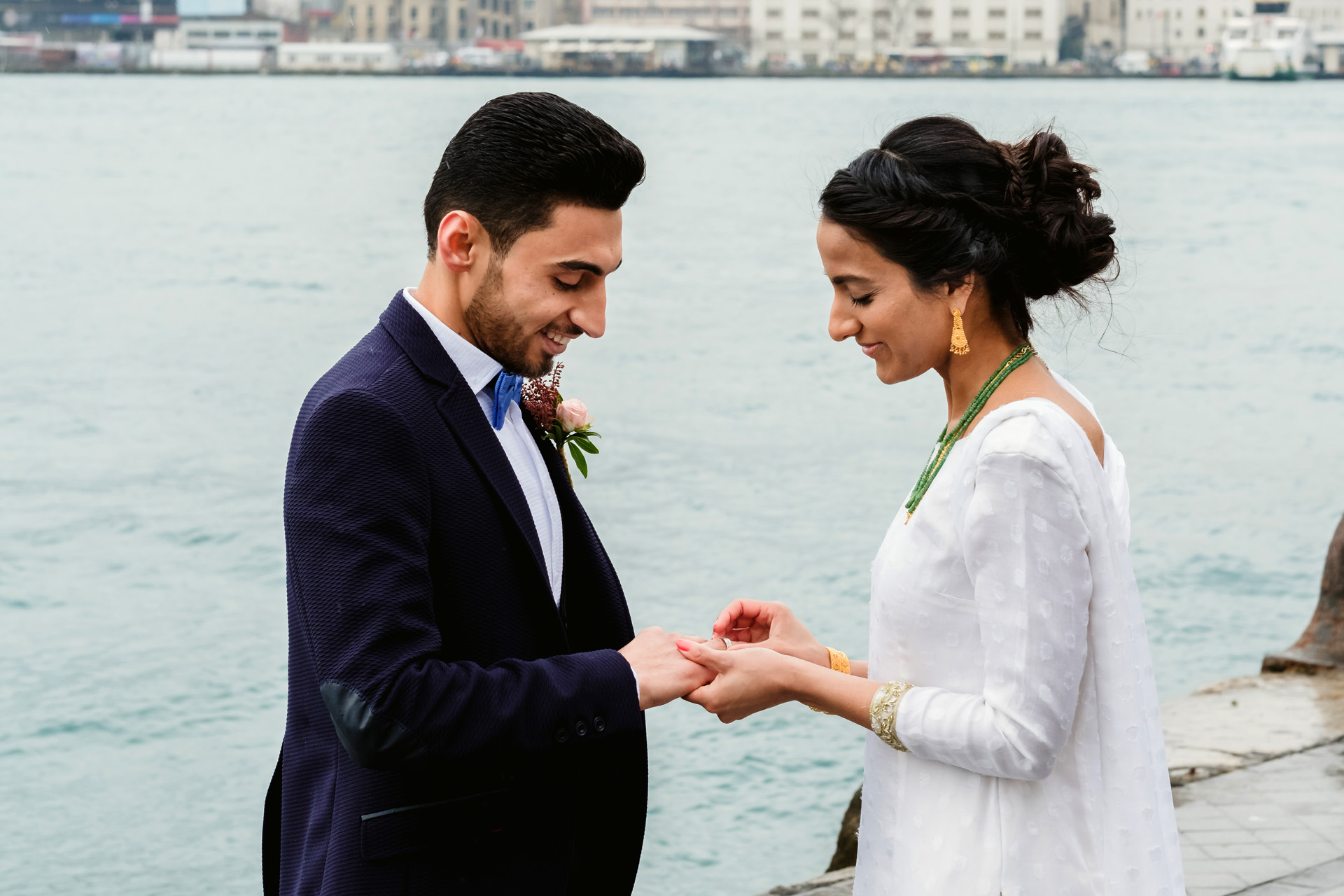 Bosporus Sea Elopement Ceremony Image | The couple decided they wanted to exchange rings in front of the Bosporus Sea in Turkey