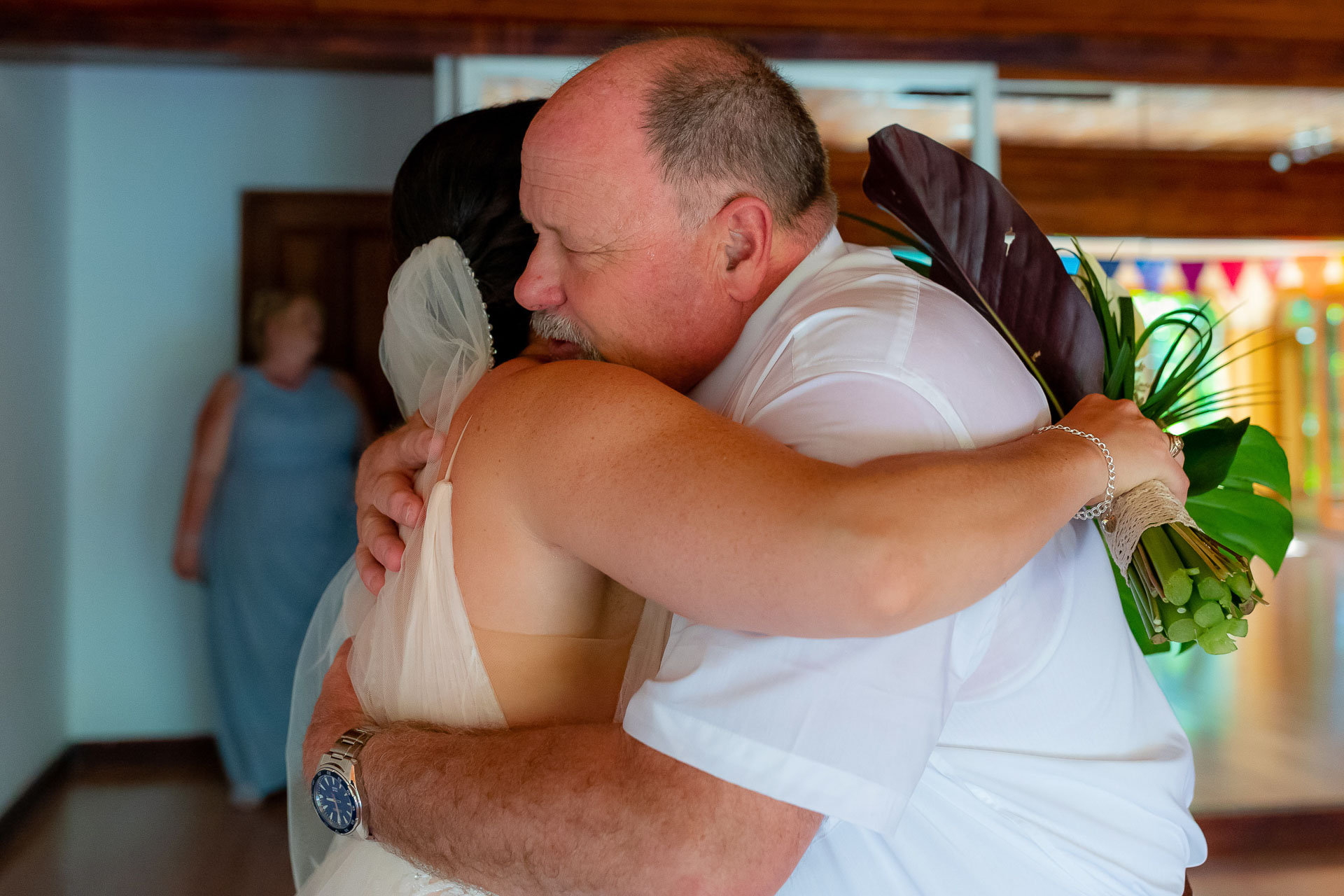 Jaco, Costa Rica Elopement Father Hug Photo   father gives the bride a hug before walking her down the aisle