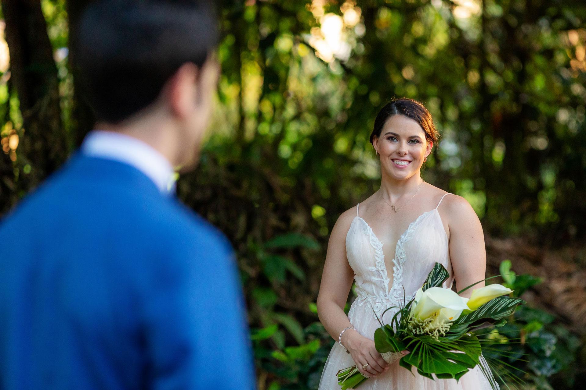 Jaco, Costa Rica Outdoor Wedding Bride/Groom Picture   the bride looking lovingly her man