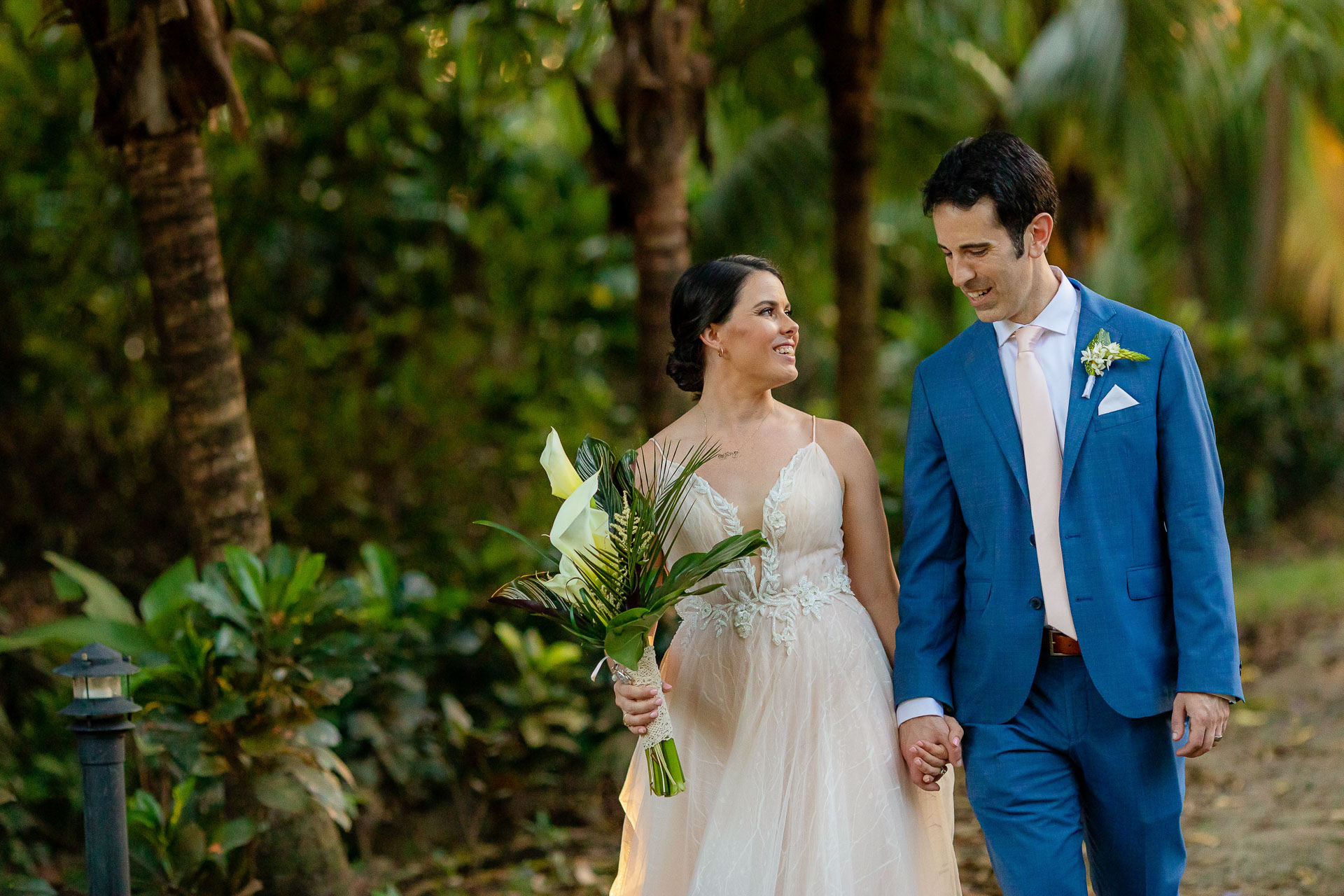 Wedding Elopement Couple Portrait from Costa Rica   bride and groom taking a walk