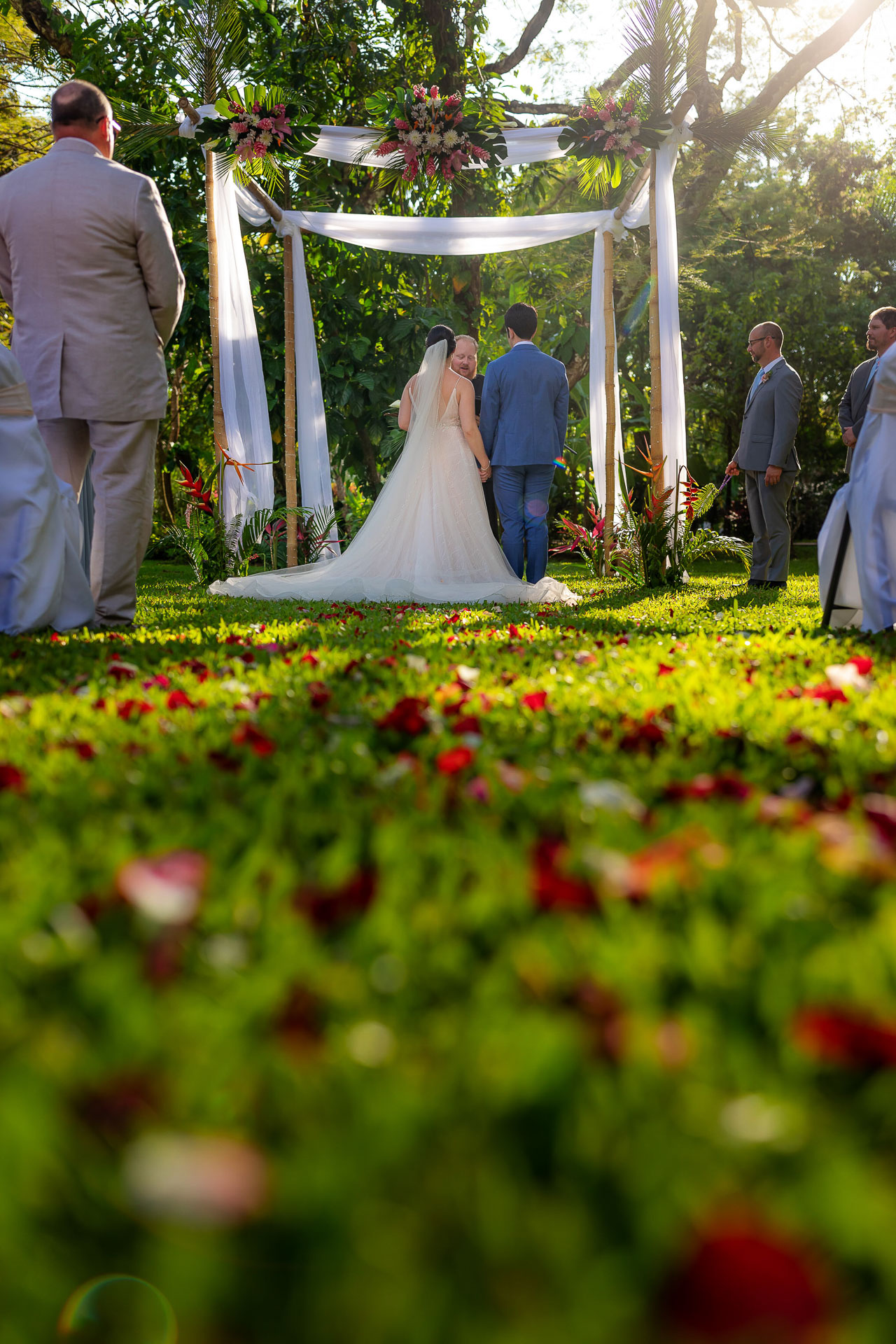 Costa Rica Outdoor Elopement Ceremony Picture   ceremony set up with rose petals