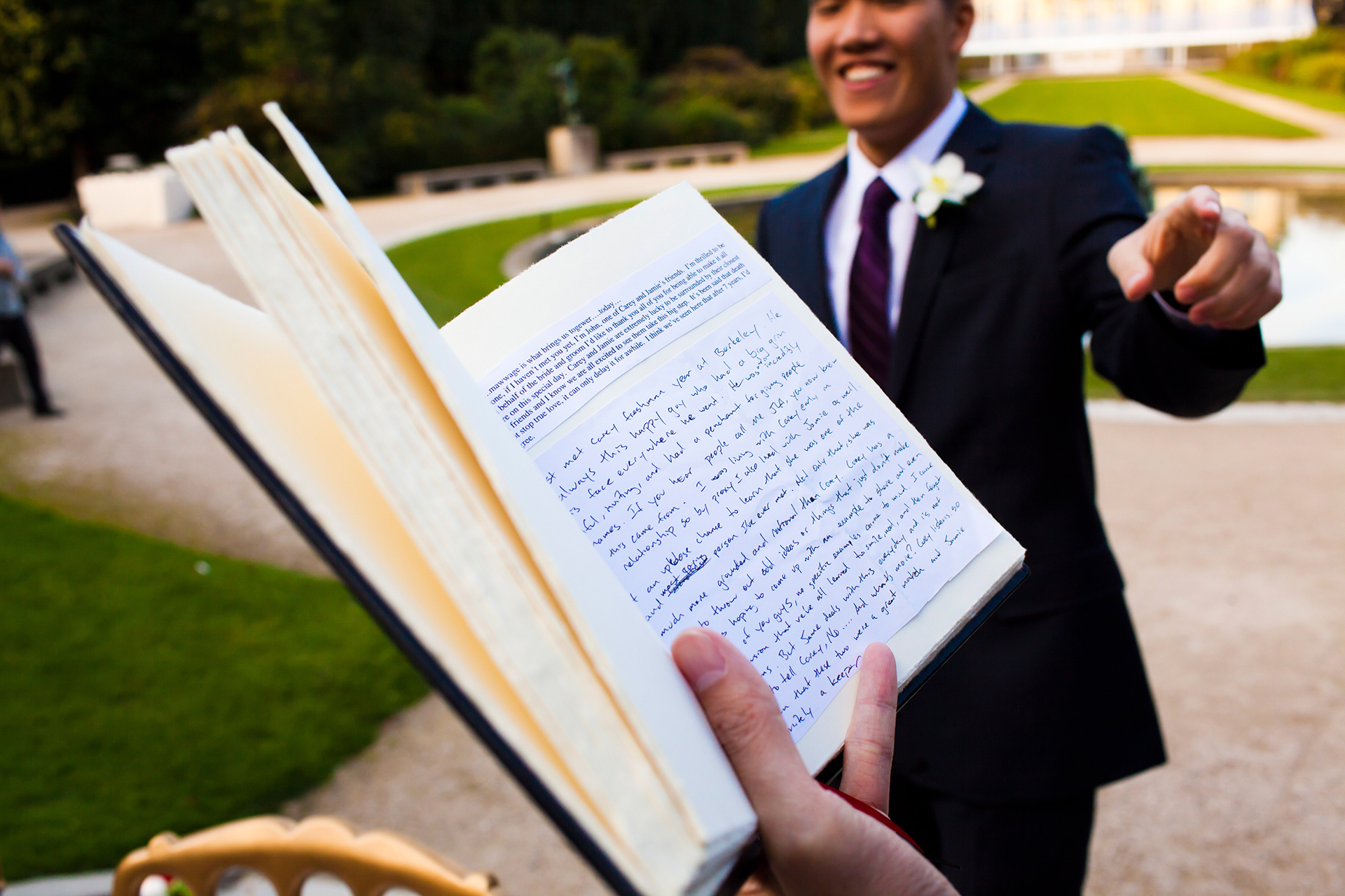 Paris Elopement Detail Image | We get to see a quick glimpse of the groom's handwritten wedding vows