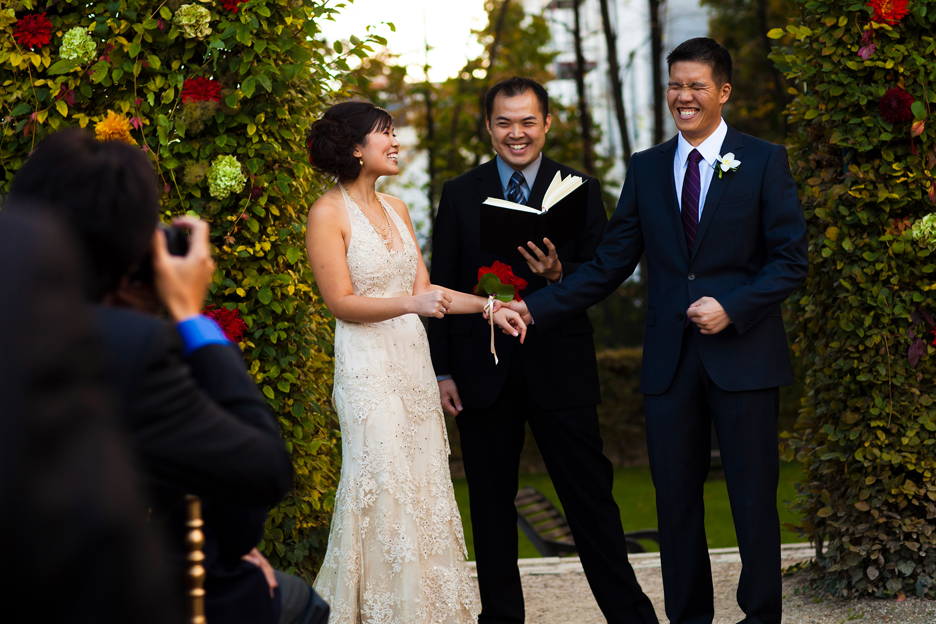 Paris Outdoor Elopement Altar Photo | Officially married now, the groom celebrates at the altar