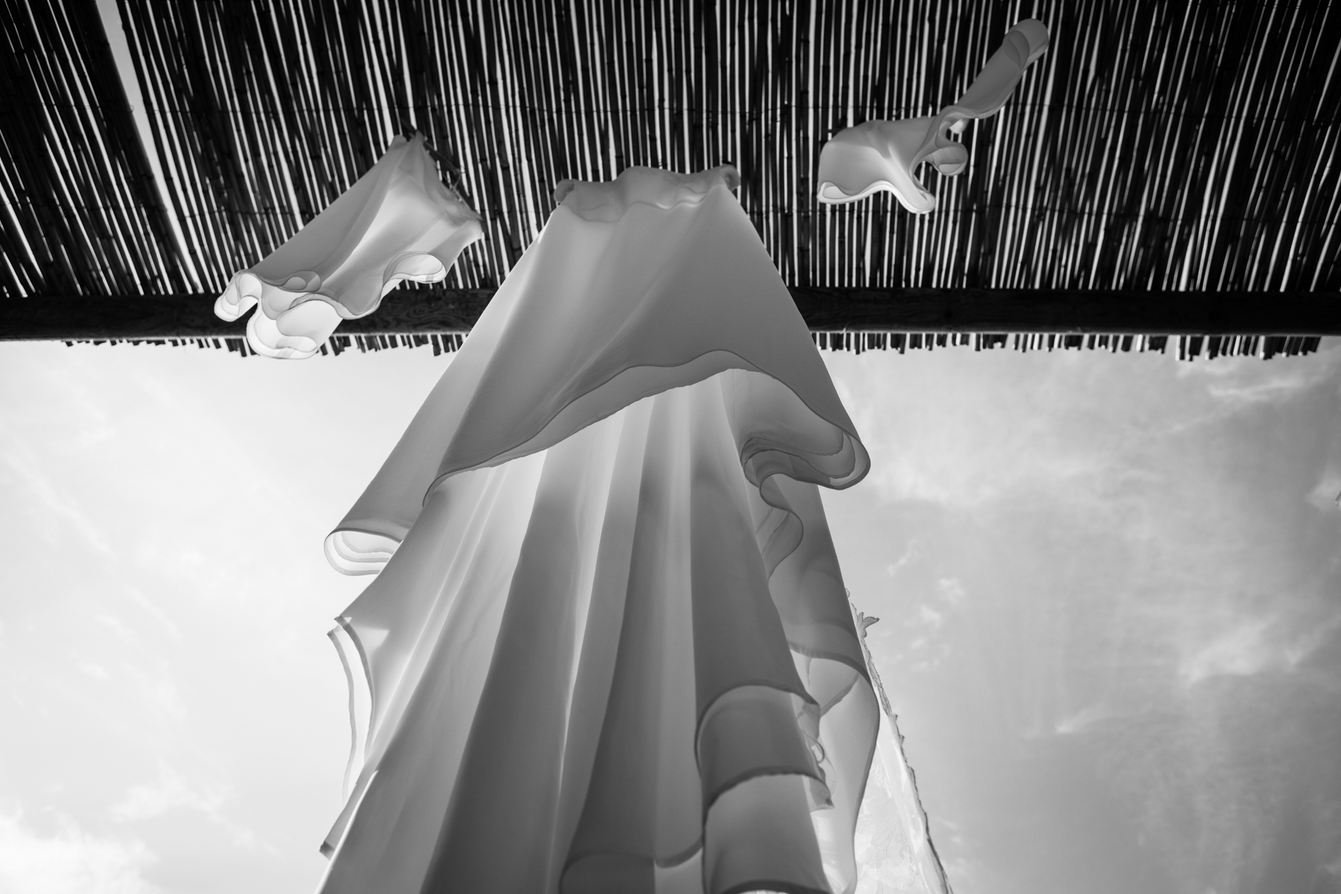 Da Gelsomina - Anacapri Italy Wedding Photo | The bride's gown hangs in the warm sun