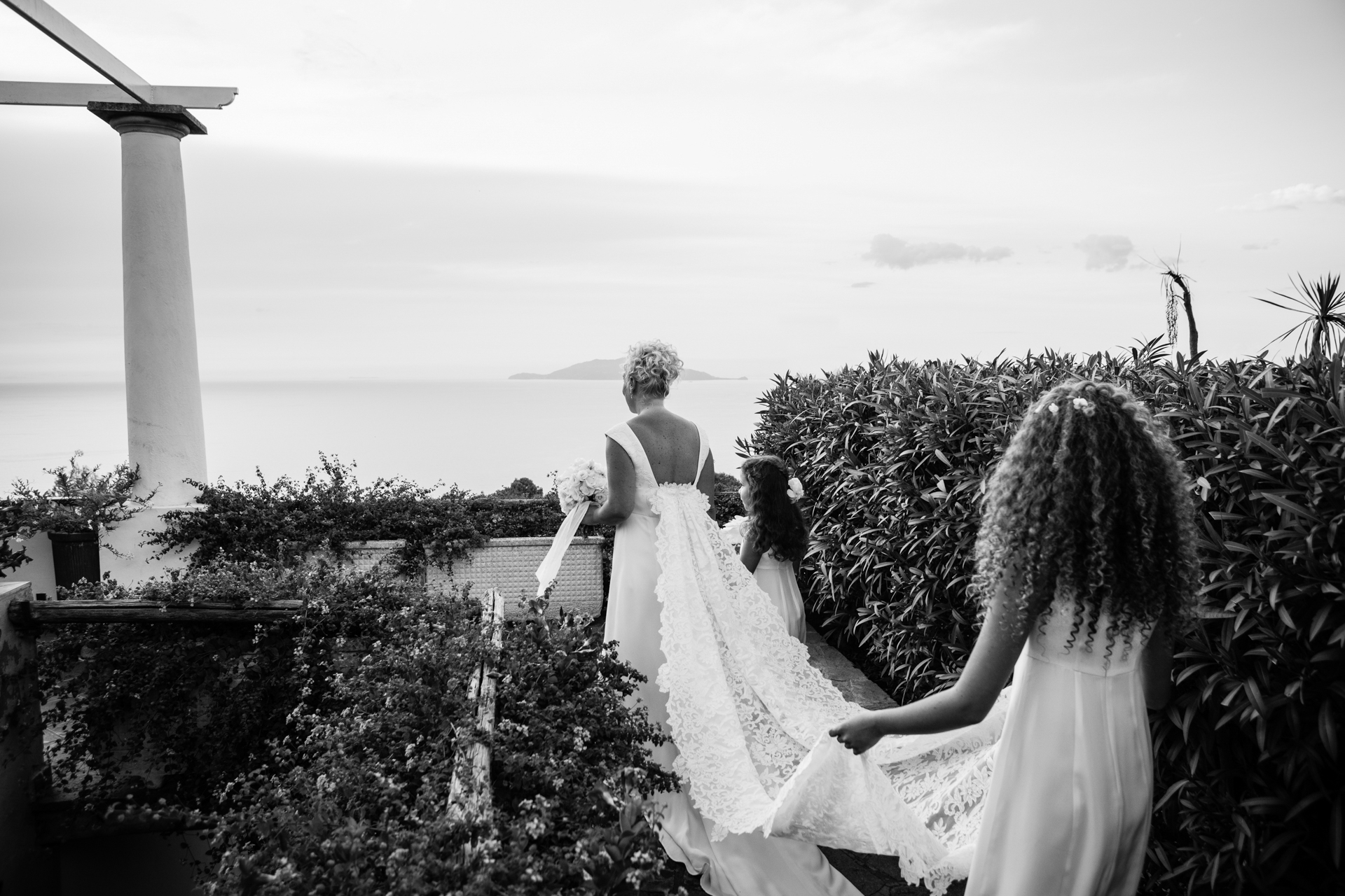 Capri Island - Italy Wedding Pictures | The bride's daughters accompany her down the aisle