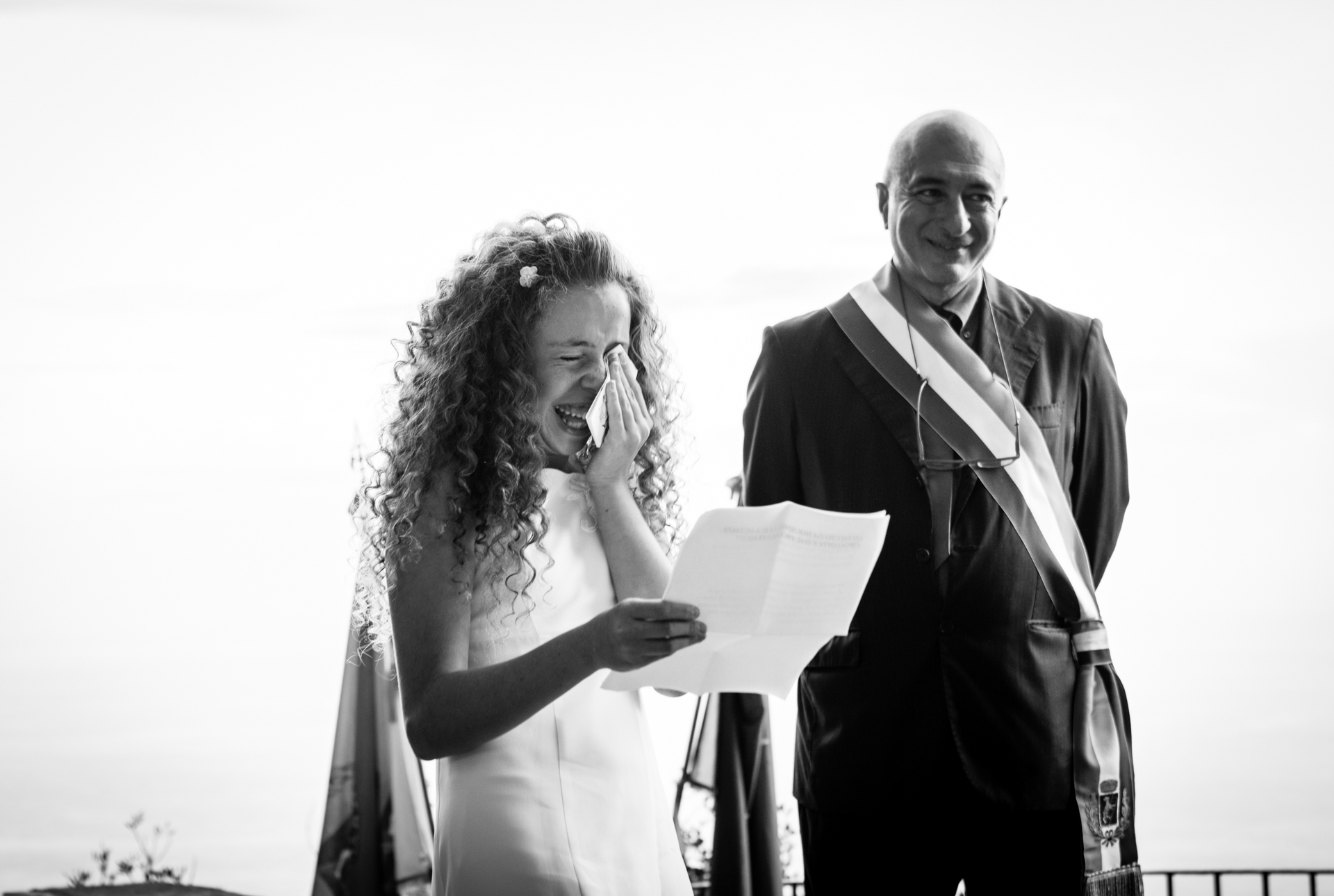 Capri Island Elopement Ceremony Photo from Italy | the daughter cries during the ceremony