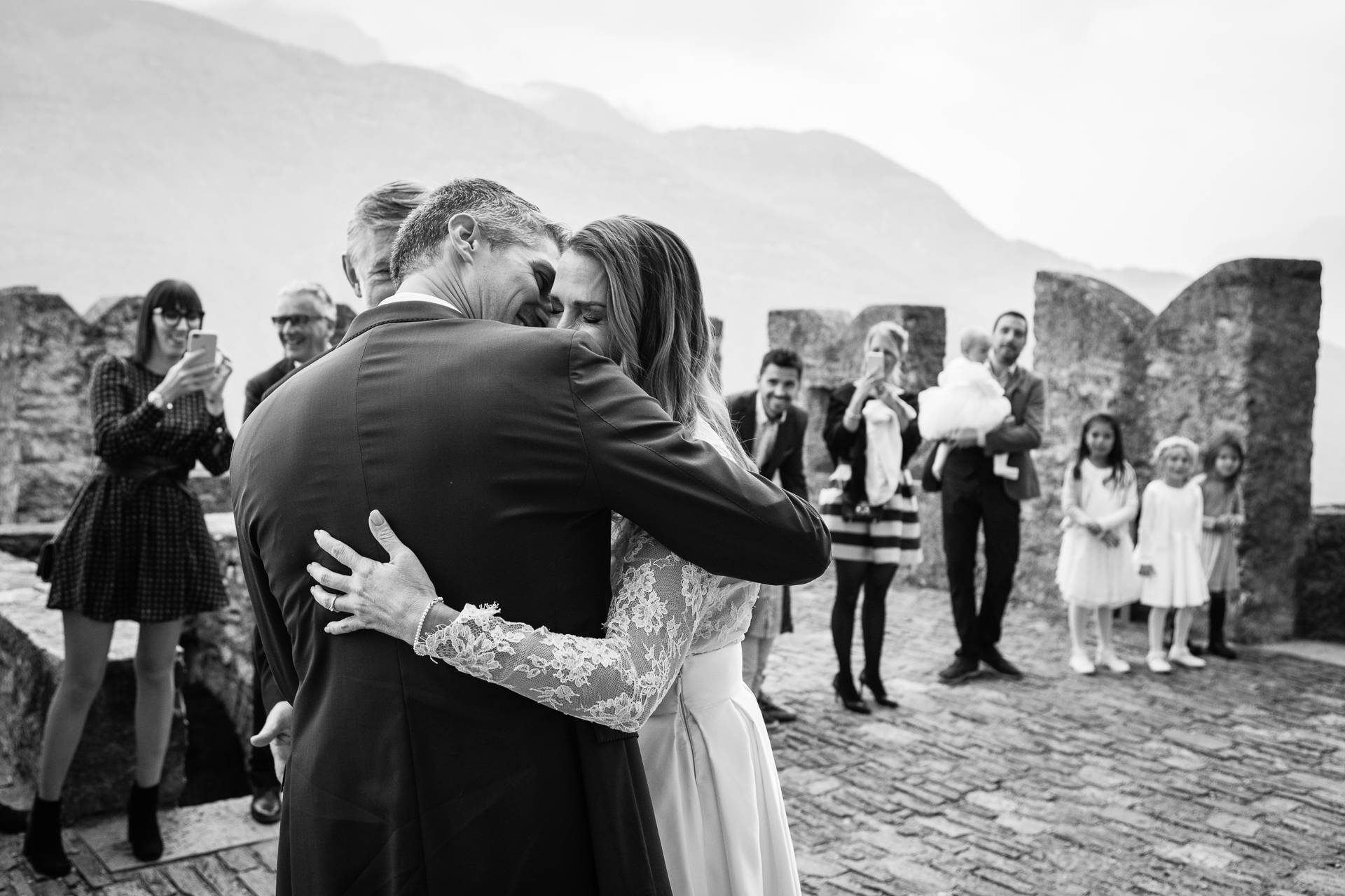 Castello di Sasso Corbaro - Bellinzona CH - Bridal Wedding Image | The bride and groom finally get to see each other for the first time