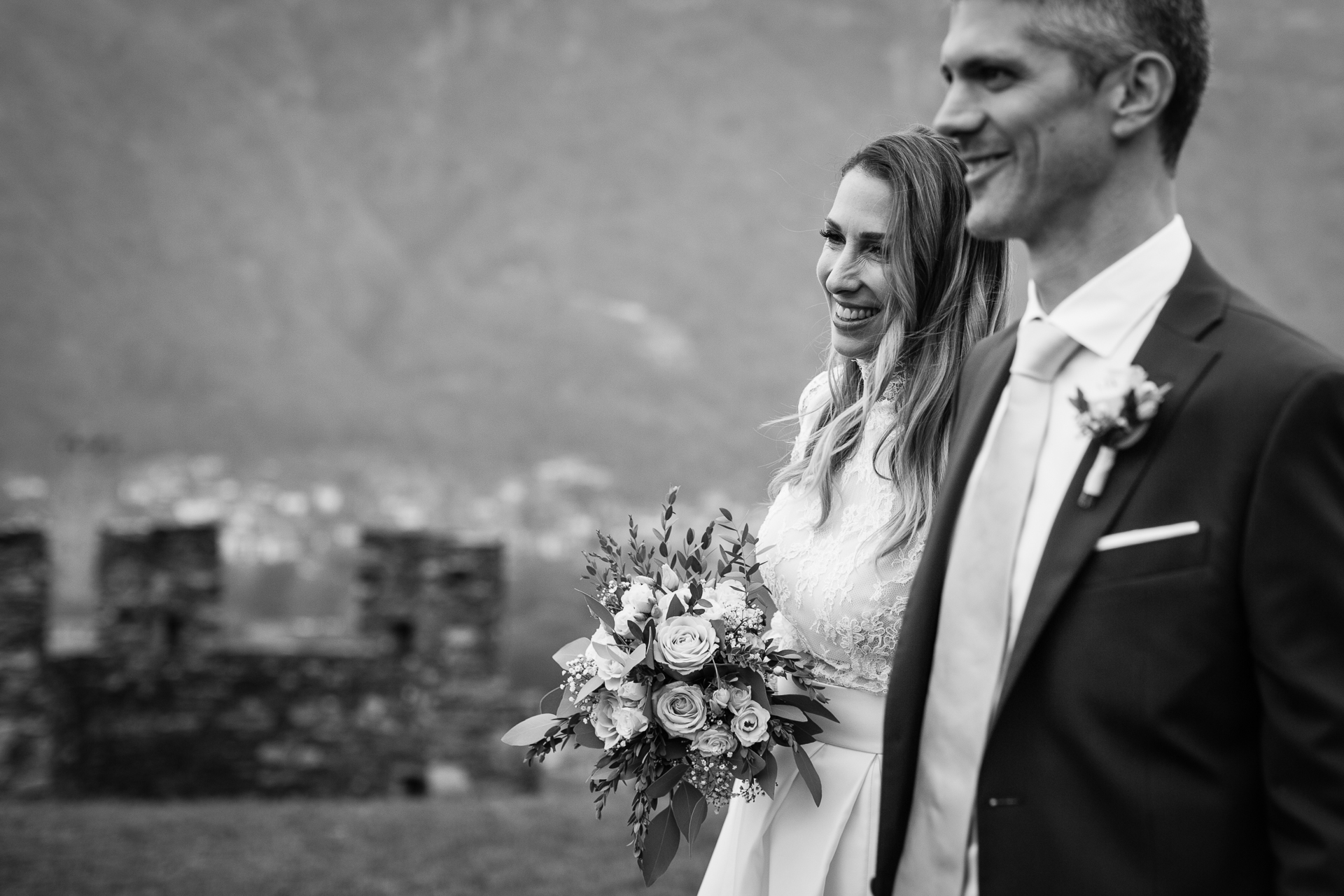 Switzerland Elopement Couple Posed Portrait | After the ceremony, the bride and groom have a small photo session