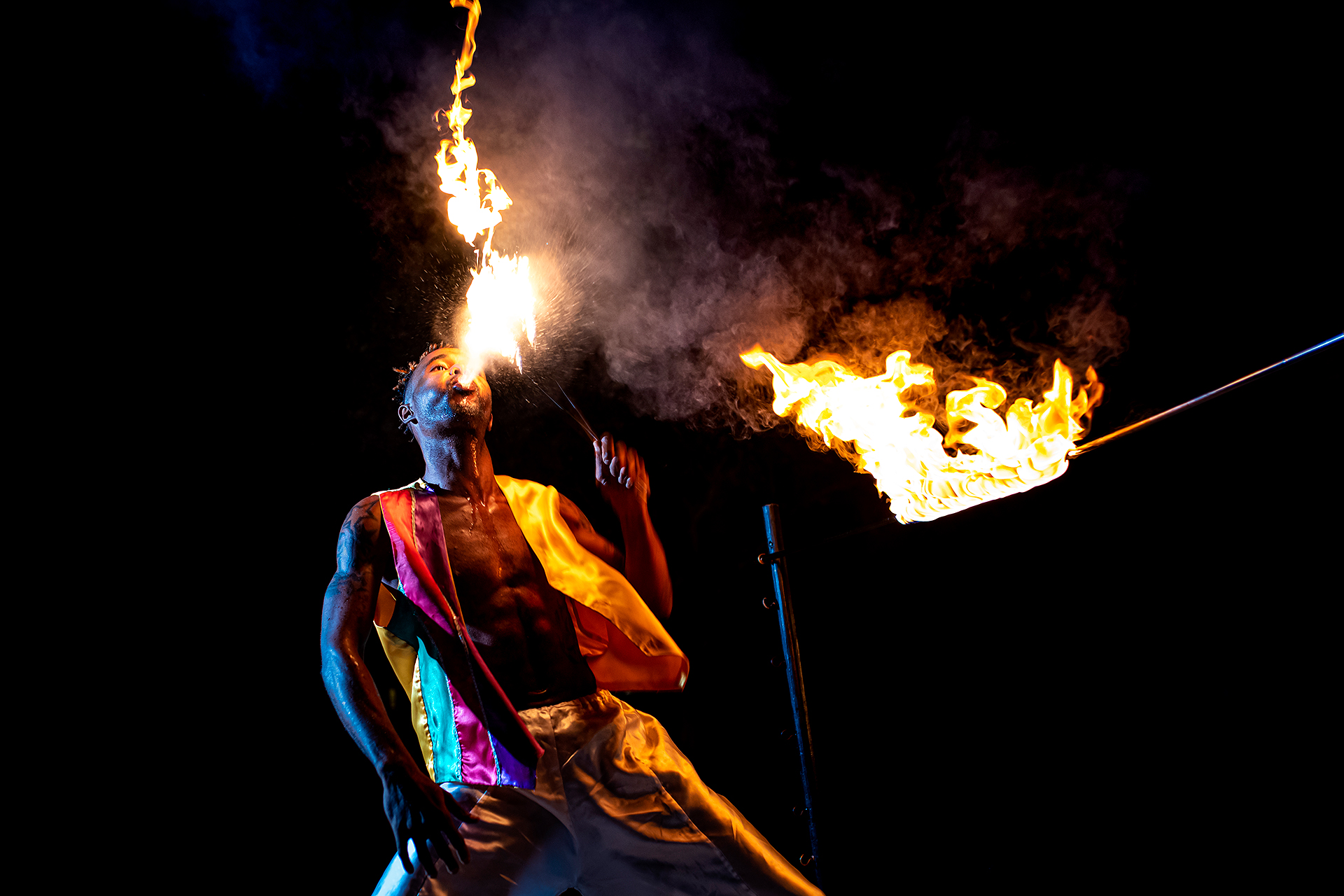 St. Lucia Elopement Reception Fire eater | A firebreather performs for the small group