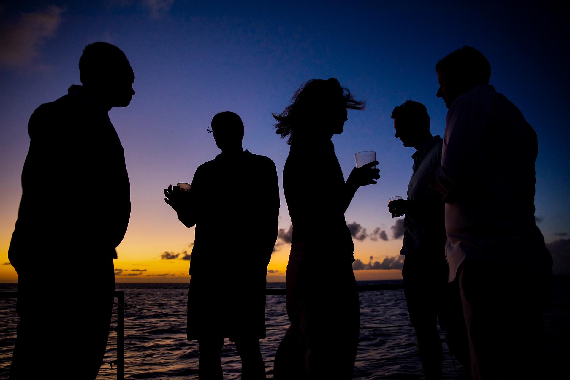 St. Lucia Elopement Wedding at Sunset | cocktails on a sunset catamaran cruise
